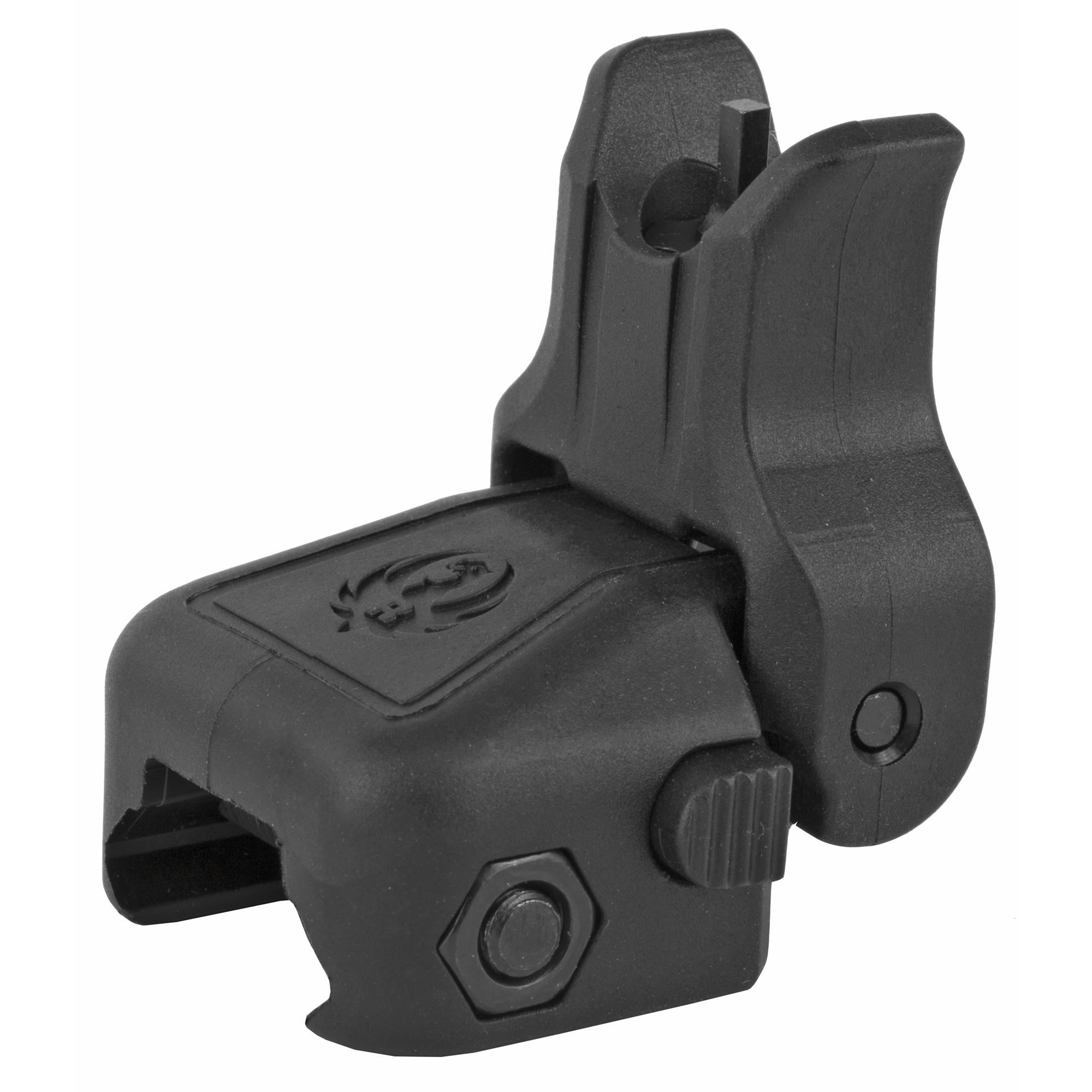 "The custom-designed Ruger(R) folding Front Sight seamlessly integrates on the Ruger(R) SR-22(R)"" the Ruger(R) SR-556(R)"" SR-762(R)"" and any modern sporting rifle with a same-plane Picatinny rail mounting system. This lightweight"" polymer sight is elevation-adjustable; folds flat to make room for optics and is spring-loaded to allow for rapid deployment with the push of a button."