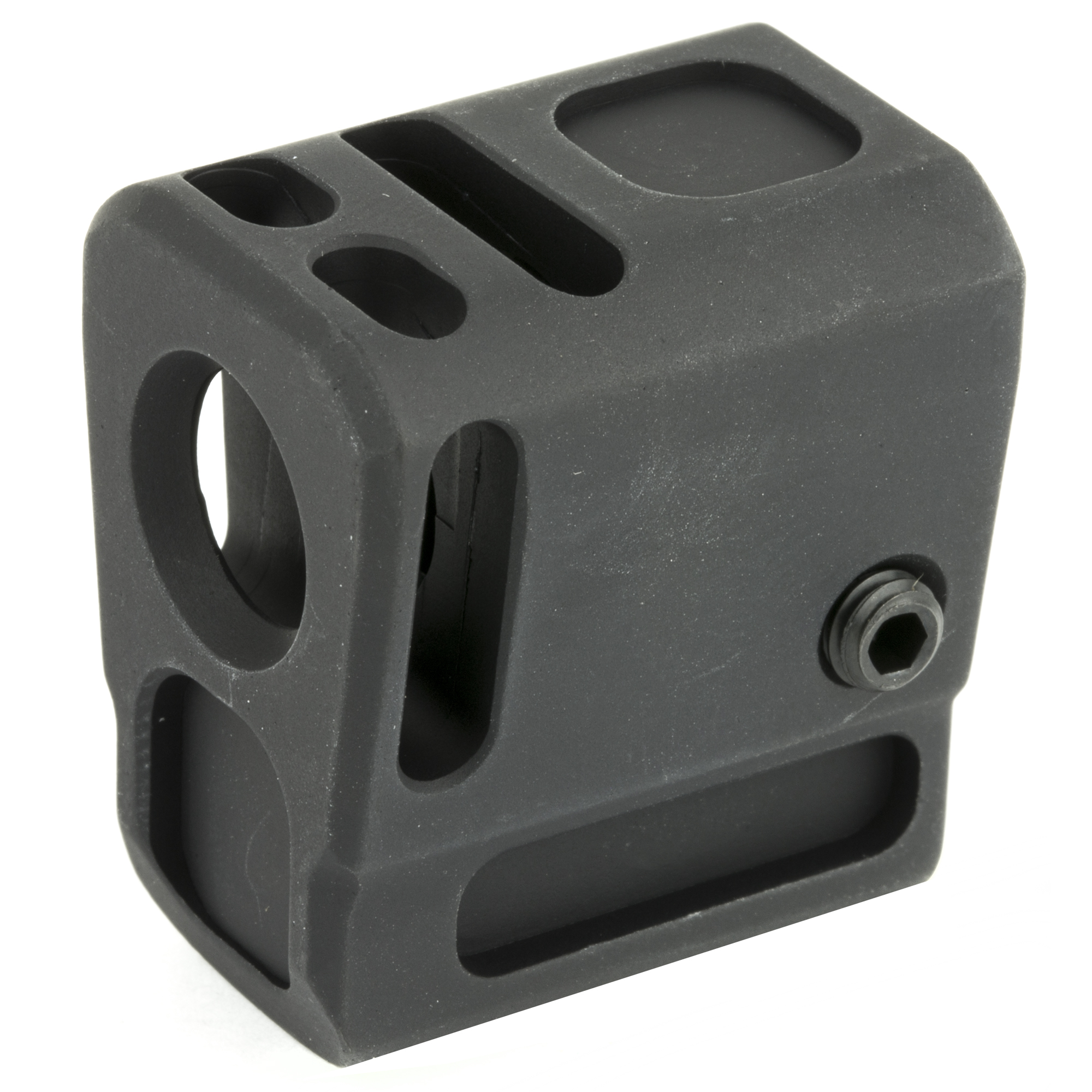 """Designed to fit 1/2x28 threaded barrels"""" the Samson Pocket Comp for the M&P 9 Shield and M&P 9 Shield M2.0 installs in minutes without the need for gunsmithing. The Samson design uses a threaded interface which protects the barrel threads unlike conventional compensators. The Pocket Comp efficiently reduces felt recoil and muzzle rise"""" allowing faster recovery between shots with iron-sight or red-dot equipped pistols. It functions with the factory recoil spring using a wide range of bullet weights and velocities."""