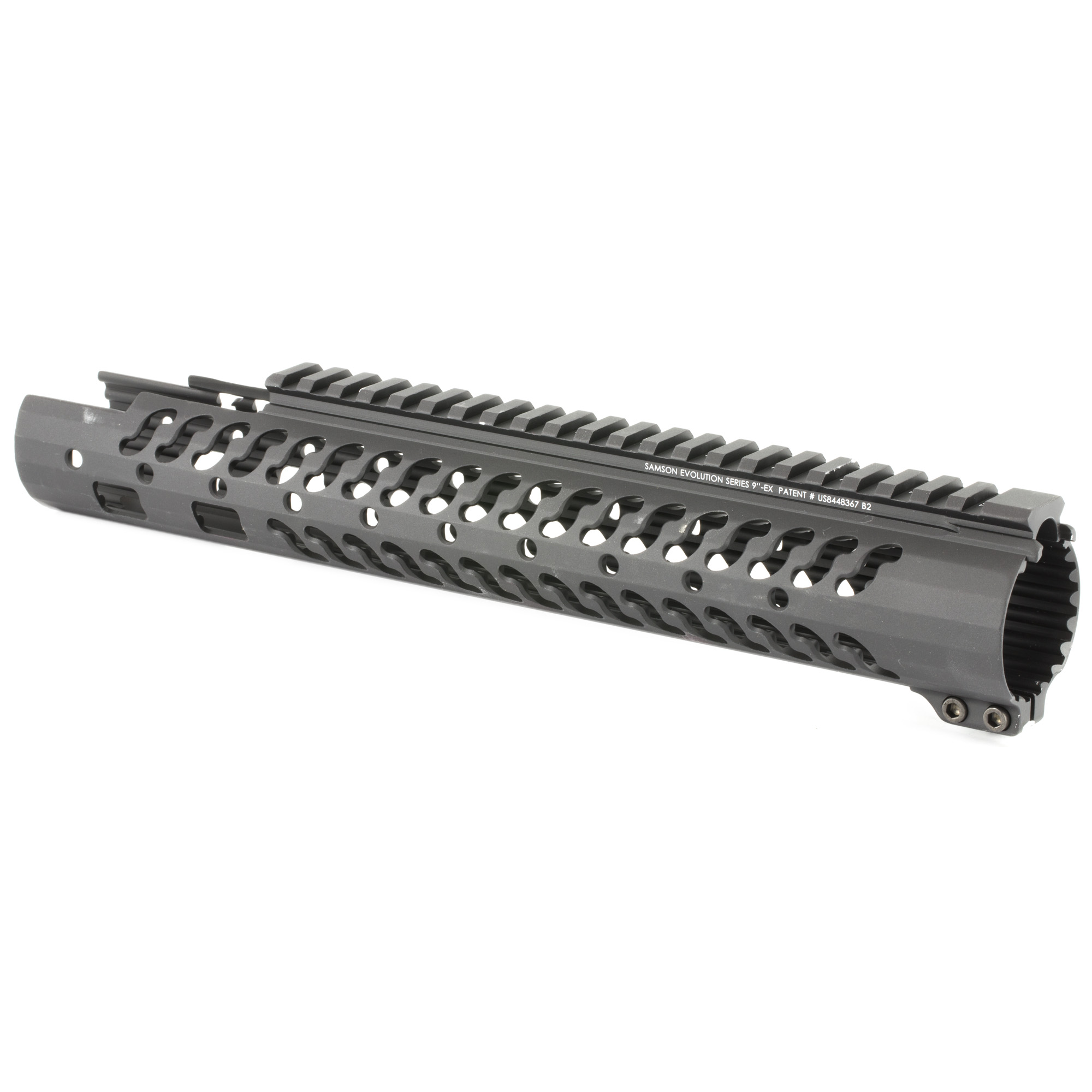 """The Samson Evolution EX Series is the next step forward in free-floating handguards. Being lightweight and durable allows the Samson Evolution EX Series to offer the perfect upgrade for 3-Gun competition shooting"""" law enforcement and military personnel or weekend enthusiasts. Accessory Picatinny rails can be added or removed at any of 7 positions around the rail and any place along the length of the tube. Rail accommodates most piston systems. This is the 9"""" Mid Length Evolution EX Evolution Rail for the AR-15.Includes: Thermal bushings"""" Two (2) 2"""" accessory rail kits"""" One (1) 4"""" accessory rail kit and wrenches."""