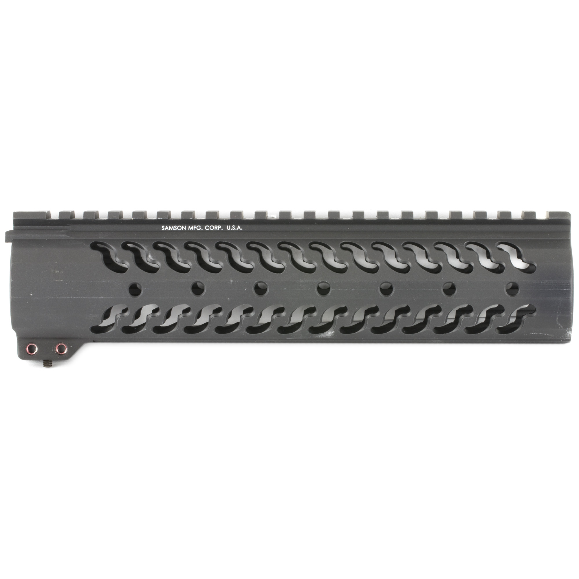 """The Samson Evolution Series features a free-floating AR-15 rail system. Being lightweight and durable allows the Samson Evolution Series to offer the perfect upgrade for 3-Gun competition shooting"""" law enforcement and military personnel or weekend enthusiasts. Accessory picatinny rails can be added or removed at any of 7 positions around the rail and any place along the length of the tube. Rail accommodates most piston systems. This is the 9"""" Carbine Length Evolution Rail for the AR-15.Standard Evolution Series Includes: Thermal bushings"""" Two (2) 2"""" accessory rail kits"""" One (1) 4"""" accessory rail kit and wrenches."""
