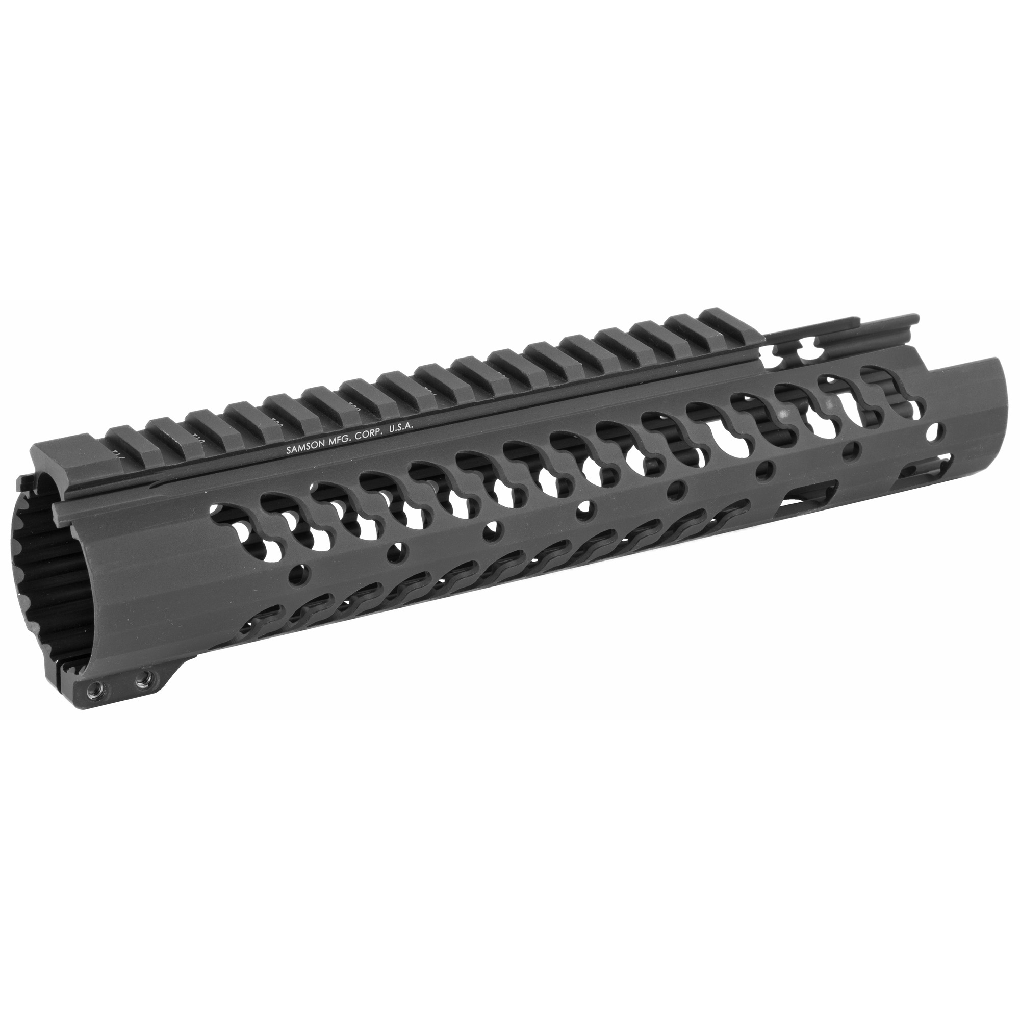 """The Samson Evolution EX Series is the next step forward in free-floating handguards. Being lightweight and durable allows the Samson Evolution EX Series to offer the perfect upgrade for 3-Gun competition shooting"""" law enforcement and military personnel or weekend enthusiasts. Accessory Picatinny rails can be added or removed at any of 7 positions around the rail and any place along the length of the tube. Rail accommodates most piston systems. This is the 7"""" Evolution EX Evolution Rail for the AR-15. Inside diameter fits most suppressors (1.56"""").Includes: Thermal bushings"""" Two (2) 2"""" accessory rail kits"""" One (1) 4"""" accessory rail kit and wrenches."""
