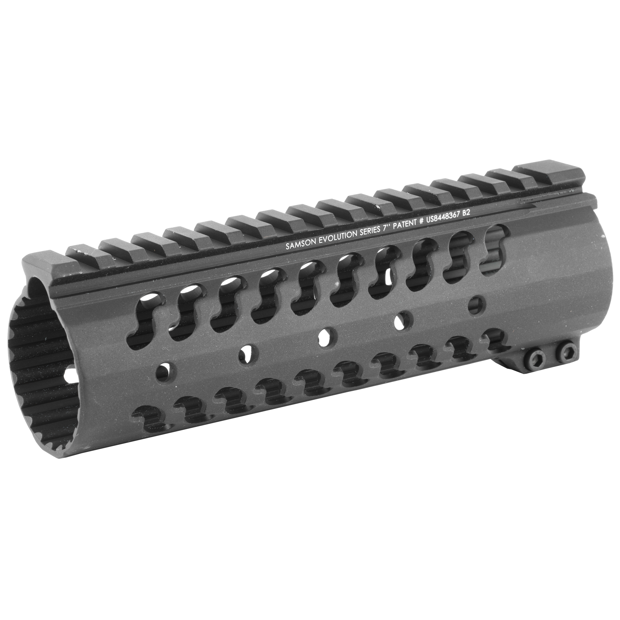 """The Samson Evolution Series features a free-floating AR-15 rail system. Being lightweight and durable allows the Samson Evolution Series to offer the perfect upgrade for 3-Gun competition shooting"""" law enforcement and military personnel or weekend enthusiasts. Accessory picatinny rails can be added or removed at any of 7 positions around the rail and any place along the length of the tube. Rail accommodates most piston systems. This is the 7"""" Evolution Rail for the AR-15.Standard Evolution Series Includes: Thermal bushings"""" Two (2) 2"""" accessory rail kits"""" One (1) 4"""" accessory rail kit and wrenches."""
