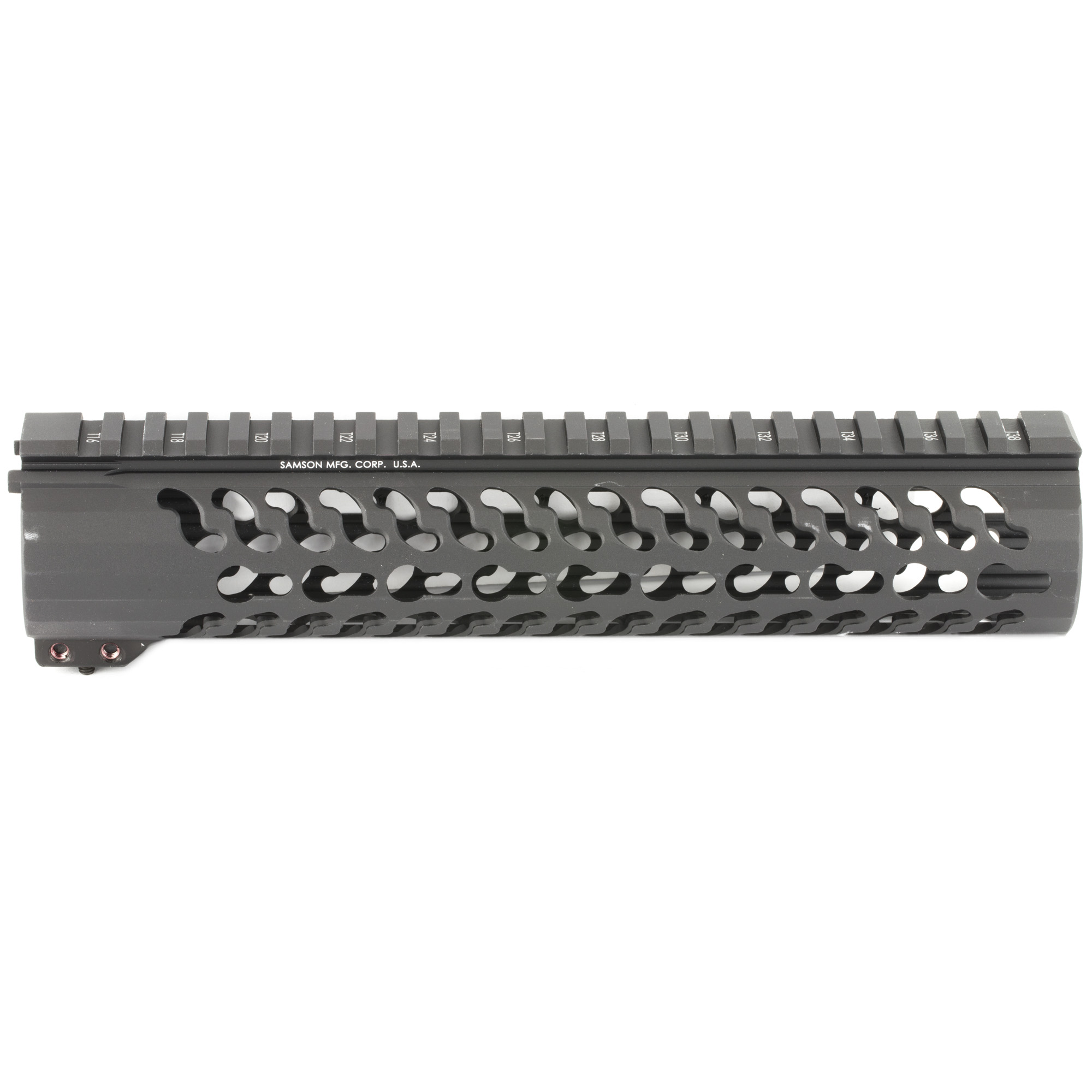 """The Samson Evolution Series features a free-floating AR-15 rail system. Being lightweight and durable allows the Samson Evolution Series to offer the perfect upgrade for 3-Gun competition shooting"""" law enforcement and military personnel or weekend enthusiasts. Accessory picatinny rails can be added or removed at any of 7 positions around the rail and any place along the length of the tube. Rail accommodates most piston systems. KeyMod versions of the Evolution Series do not include accessory rails. This is the 10"""" Mid Length Super Slim Keymod Evolution Rail."""