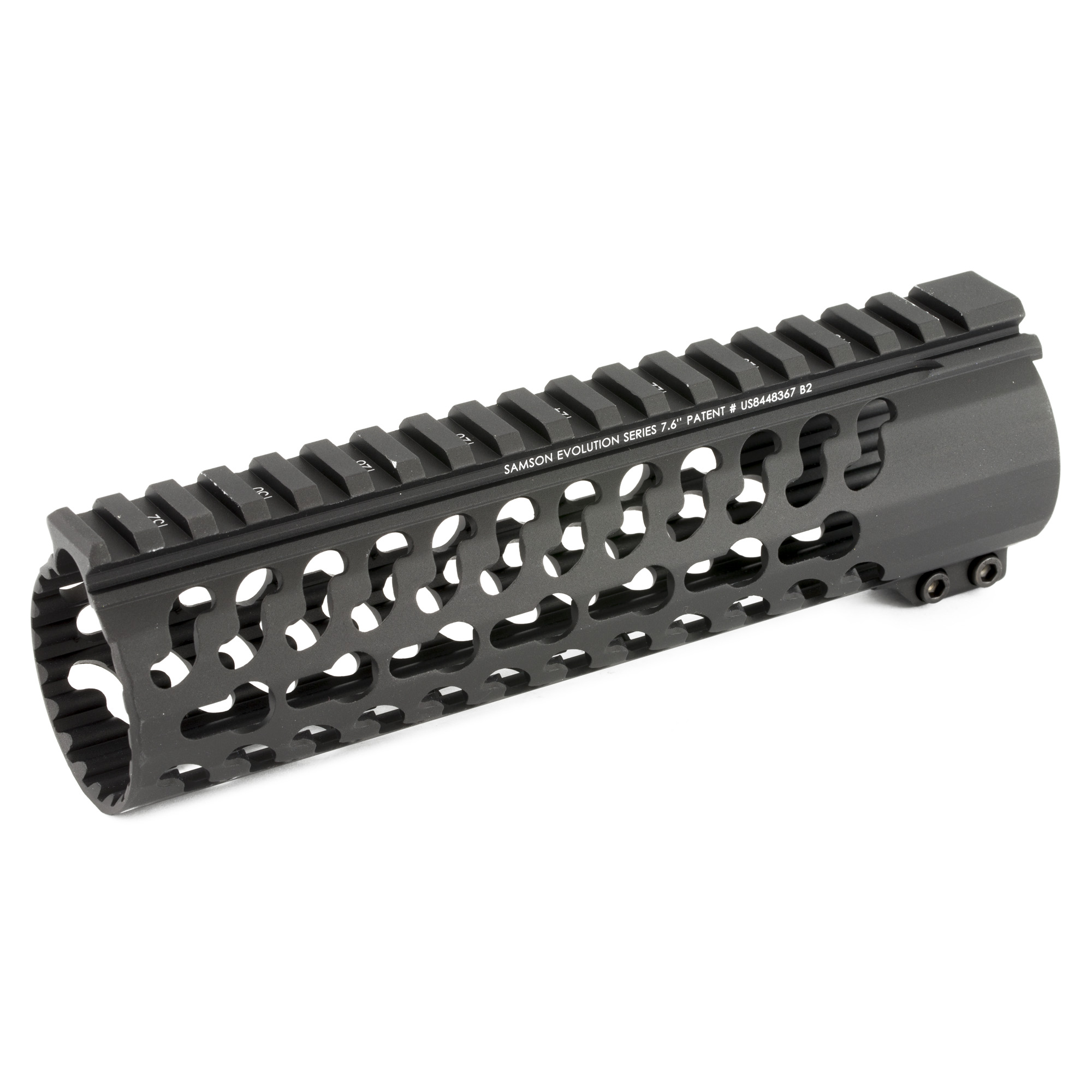 """The Samson Evolution Series features a free-floating AR-15 rail system. Being lightweight and durable allows the Samson Evolution Series to offer the perfect upgrade for 3-Gun competition shooting"""" law enforcement and military personnel or weekend enthusiasts. Accessory picatinny rails can be added or removed at any of 7 positions around the rail and any place along the length of the tube. Rail accommodates most piston systems. KeyMod versions of the Evolution Series do not include accessory rails. This is the 7.6"""" Carbine Length Keymod Evolution Rail."""