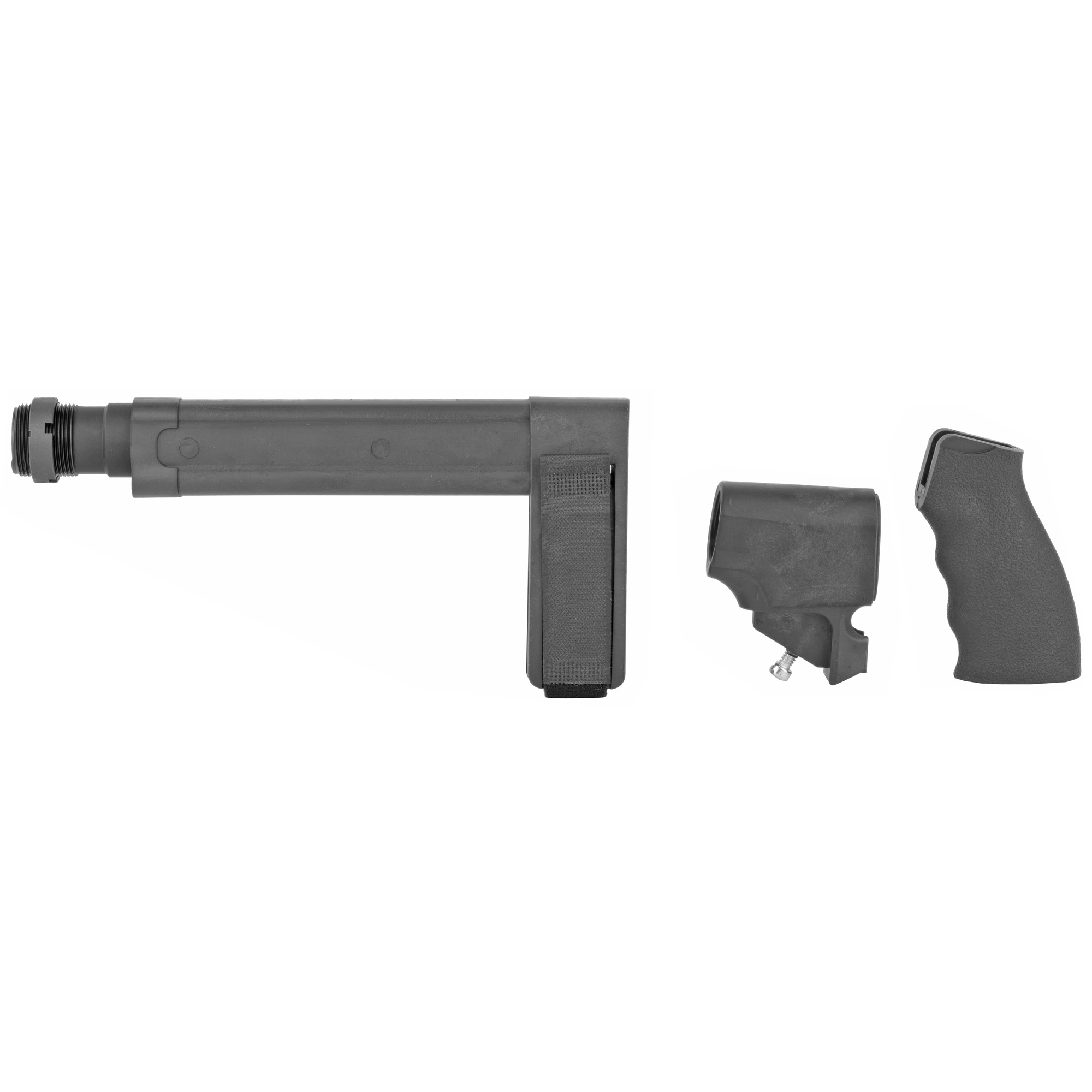 """This SB Tactical SBL Stabilizing Brace Kit for the Remington 870 TAC-14 is ready to assemble on your Remington 870 TAC-14. It will greatly enhance the usability of the firearm by adding a third point of contact for stabilization. Kit includes: SBL Pistol Stabilizing Brace STDT pistol receiver extension ERGO Flat Top SUREGRIP ERGO Remington 870 adapter castle nut and adjustable nylon strap (1.60"""" wide)."""