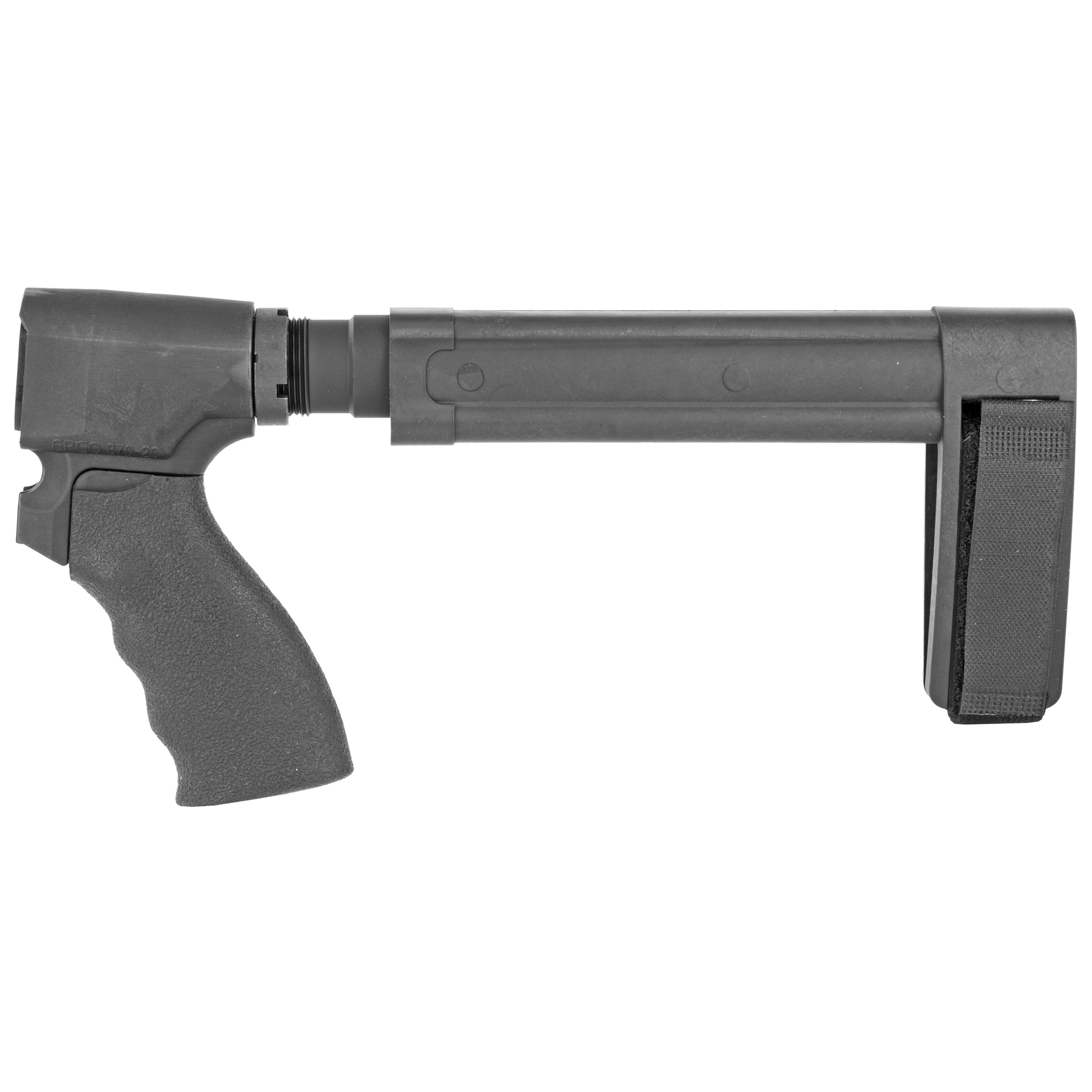 """A complete kit"""" ready-to-assemble on your Remington Tac-14"""" greatly enhancing the usability of the firearm by adding a third point of contact for stabilization. This is a 20 gauge kit which includes the following-SBL Pistol stabilizing brace"""" STOT-C pistol receiver extension"""" Ergo flat top Suregrip"""" Ergo Remington 870 adapter"""" castle nut and adjustable nylon strap."""