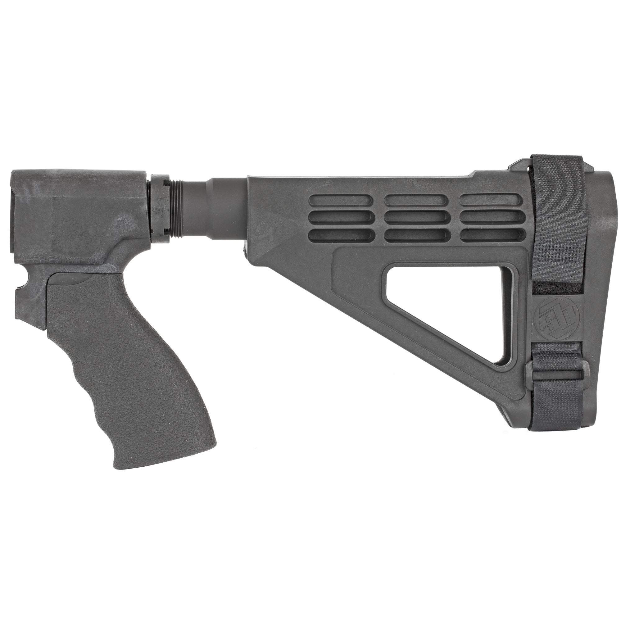 A complete kit ready-to-assemble on your Remington Tac-14 greatly enhancing the usability of the firearm by adding a third point of contact for stabilization. This is a 20 gauge kit which includes the following-SBM4 Pistol stabilizing brace STOT-C pistol receiver extension Ergo flat top Suregrip Ergo Remington 870 adapter castle nut and adjustable nylon strap.