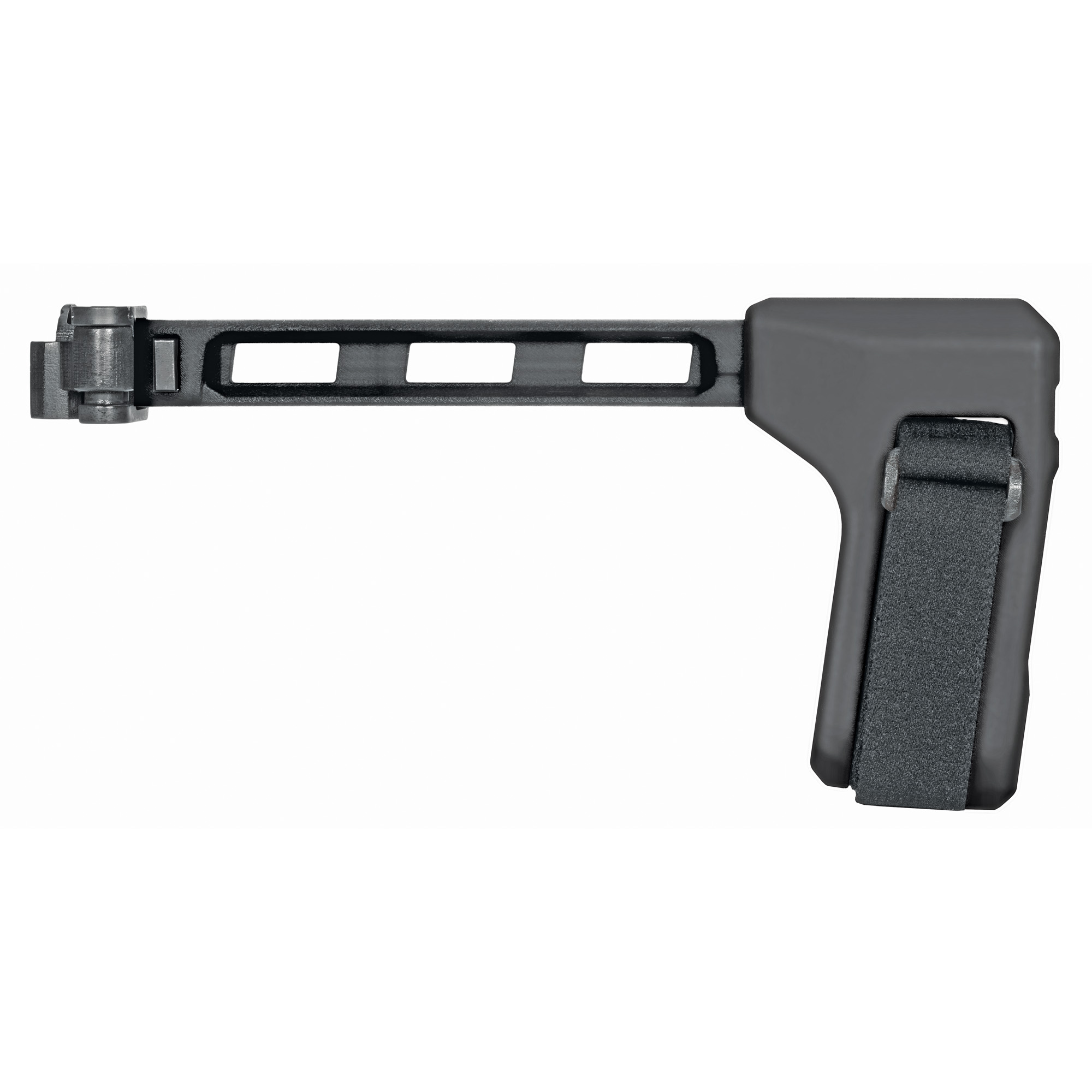 """A low-profile"""" left side-folding"""" strut design compatible with all platforms utilizing an M1913 interface at the rear of the receiver. The FS1913(TM) is a complete assembly offering pull-through opening and a solid lock-up when extended. Comes with adjustable nylon strap."""