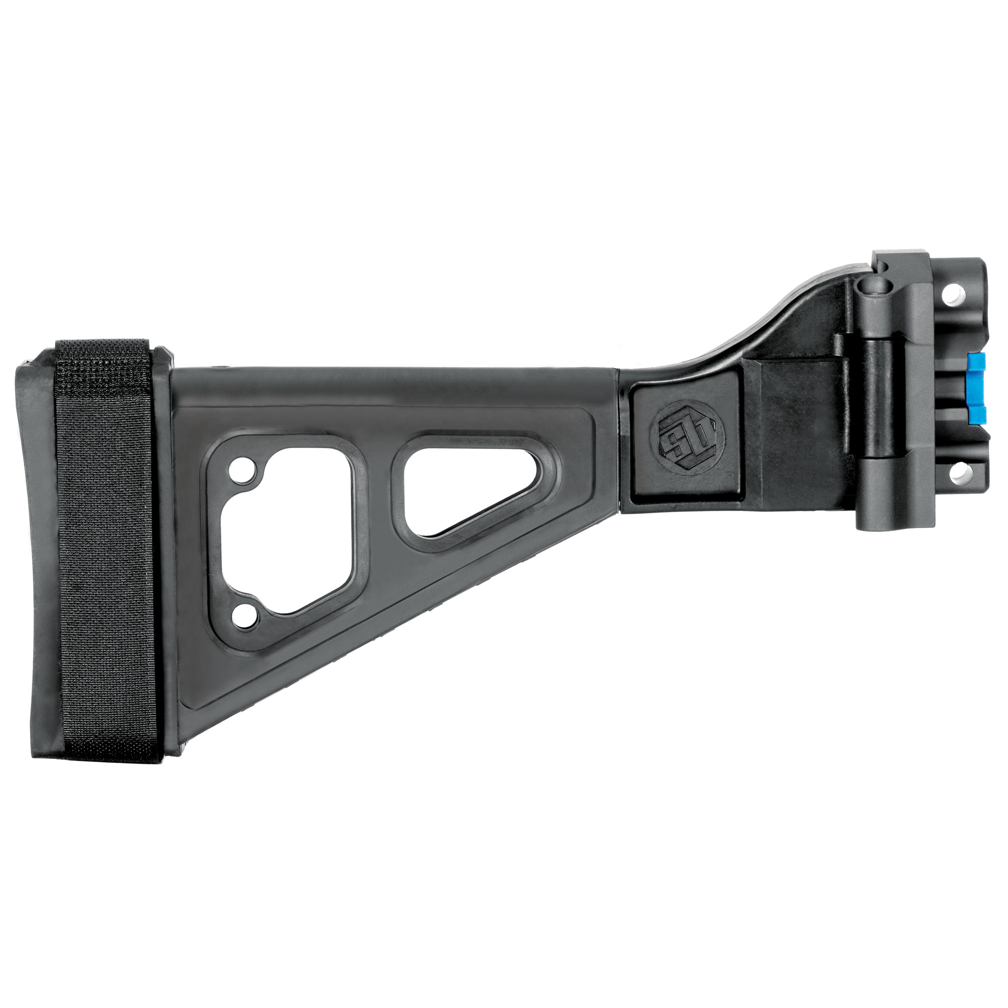 """Inspired by the iconic B&T design for HK platforms"""" the SBT5KA enhances your MP5K with an integral"""" machined aluminum side-folding mechanism. Fits HK MP5K/SP89 Clones"""" SP5K; Includes an adjustable nylon strap."""