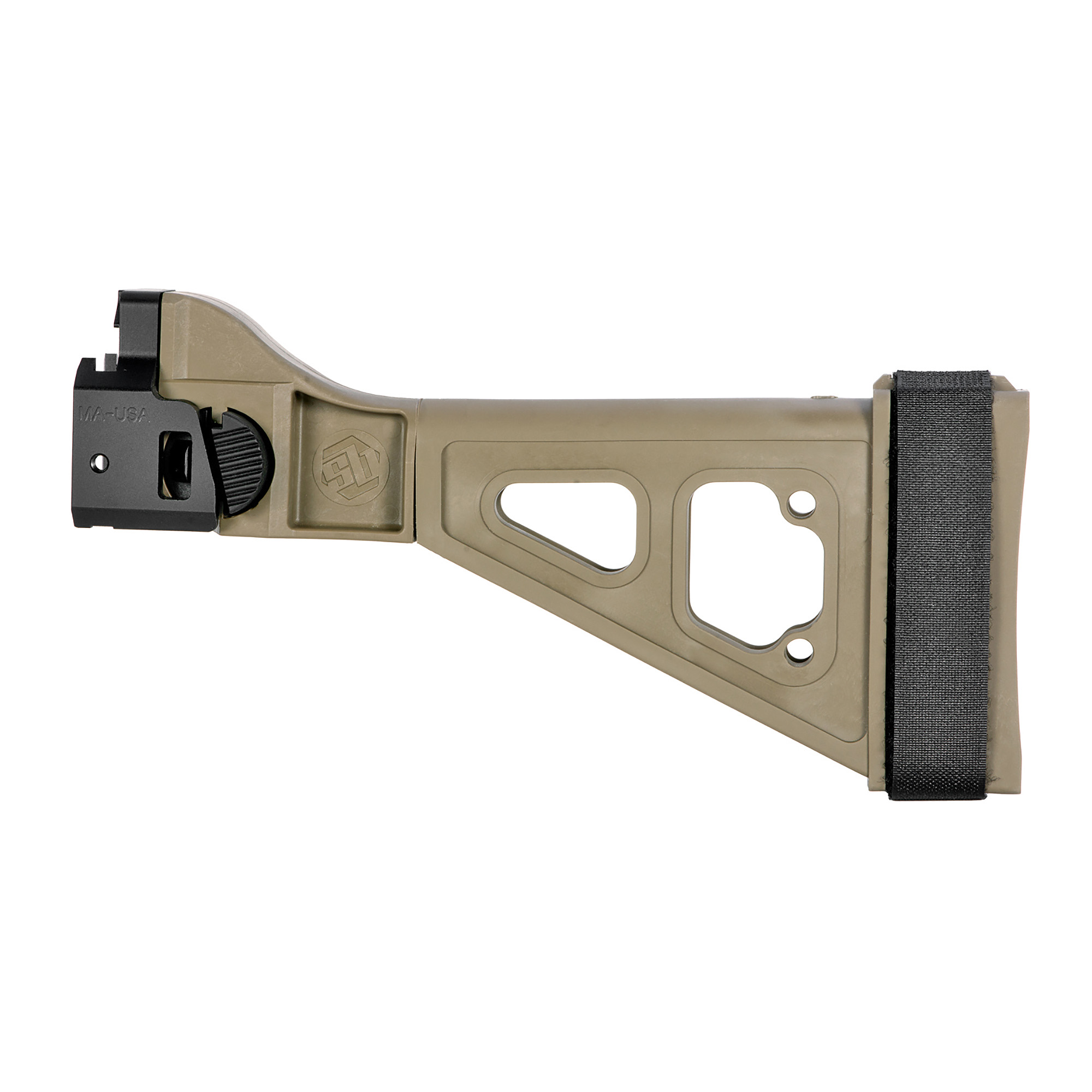 """The SBTEVO Pistol Stabilizing Brace was inspired by the iconic B&T design for HK platforms. Featuring an integral"""" side-folding mechanism"""" the SBTEVO fits the CZ Scorpion Evo. Includes an adjustable nylon strap."""
