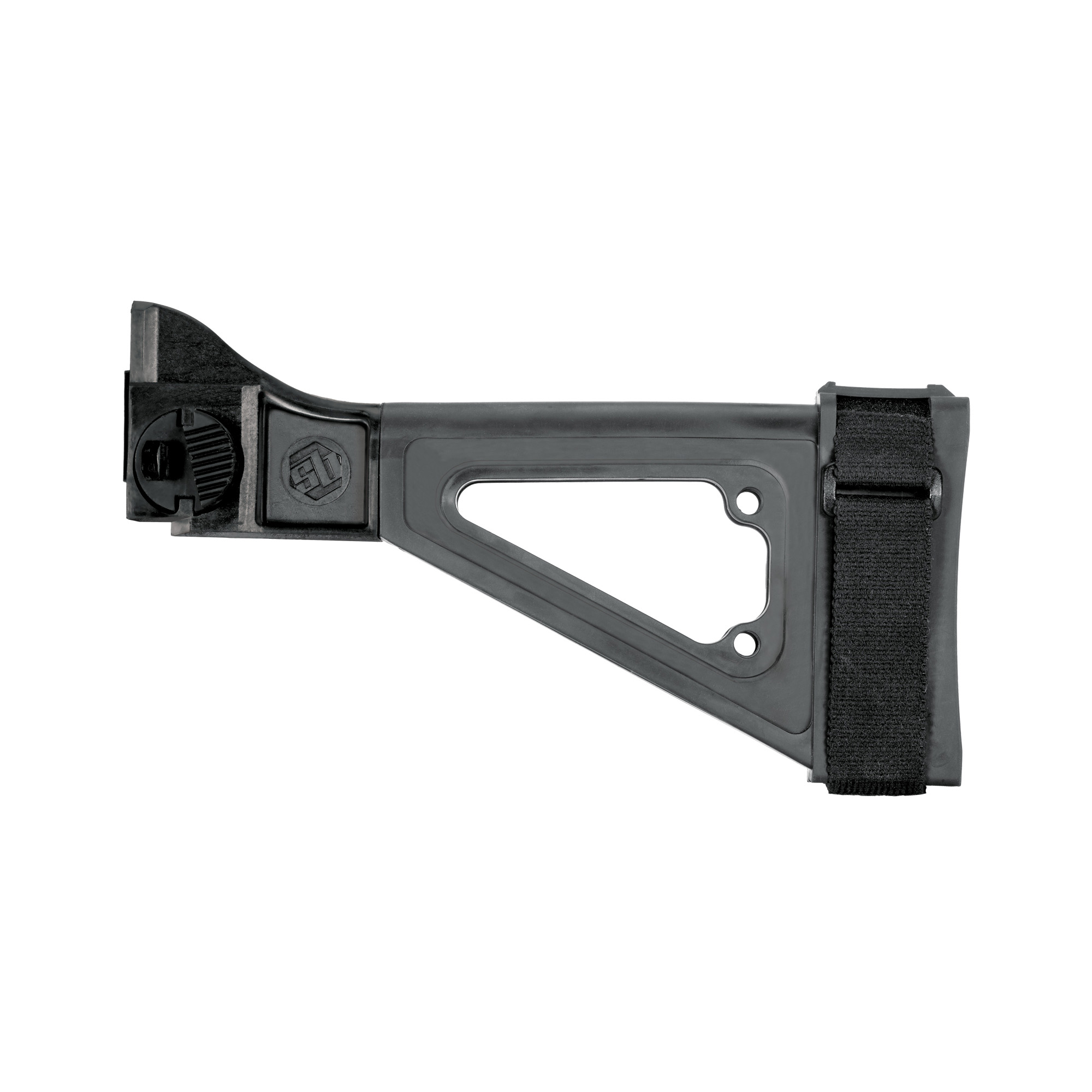"""A skeletonized version of the SBT Pistol Stabilizing Brace"""" the SBTi enhances your B&T APC or HK UMP with an integral"""" side-folding mechanism. The SBTi variant also allows you to customize the look of your platform equipped with any compatible SBT adapter (CZ Scorpion"""" CZ Bren 805"""" HK MP5"""" HK MP5K"""""""" etc.) Includes an adjustable nylon strap."""