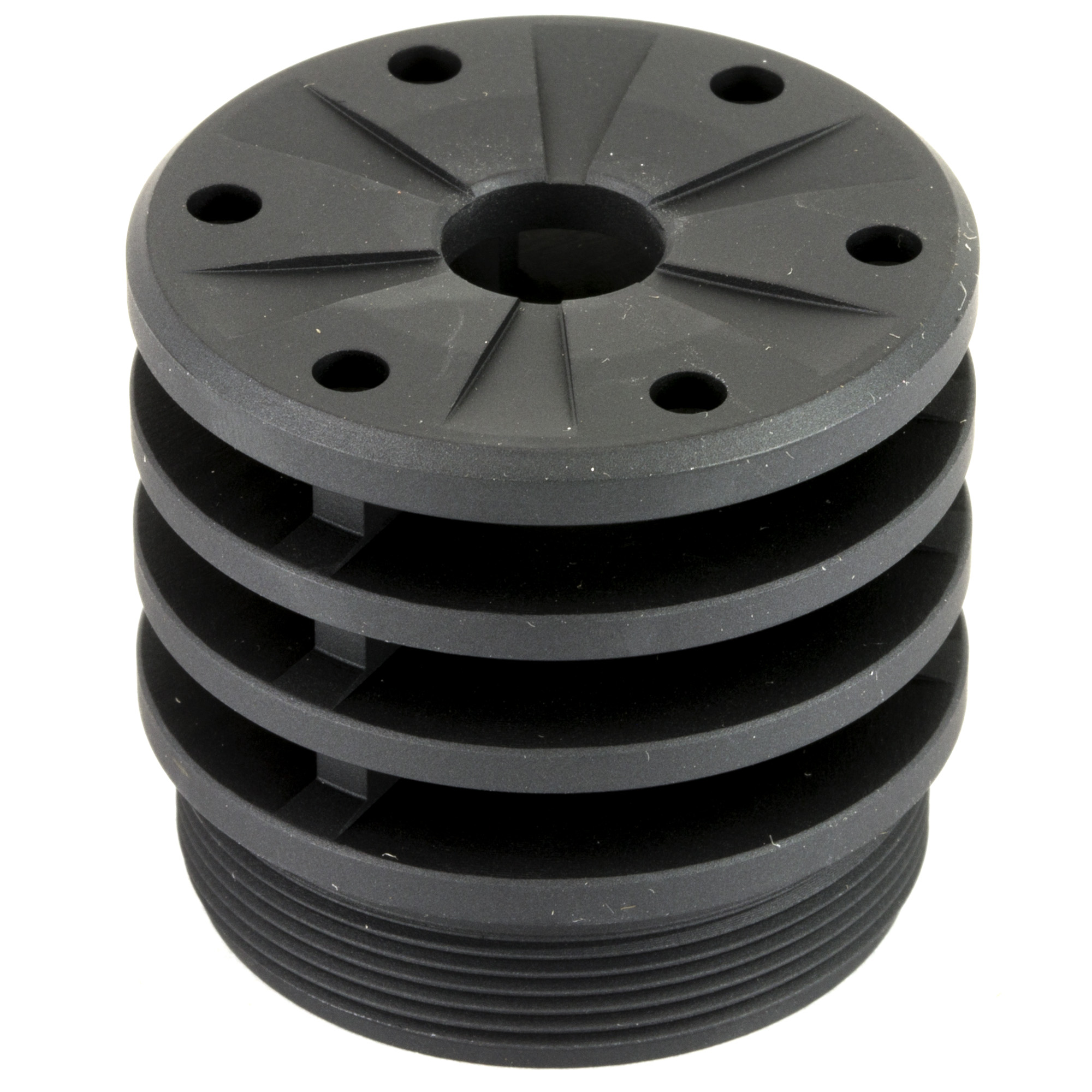 """Replace the Front Cap on your Omega 300 or Hybrid 46 with a SilencerCo Bravo Anchor Brake. The Anchor brake improves sound reduction and mitigates recoil"""" allowing the shooter to re-acquire the target for faster follow-up shots. Bravo accessories are compatible with Omega 300"""" Hybrid 46"""" and Harvester 338."""
