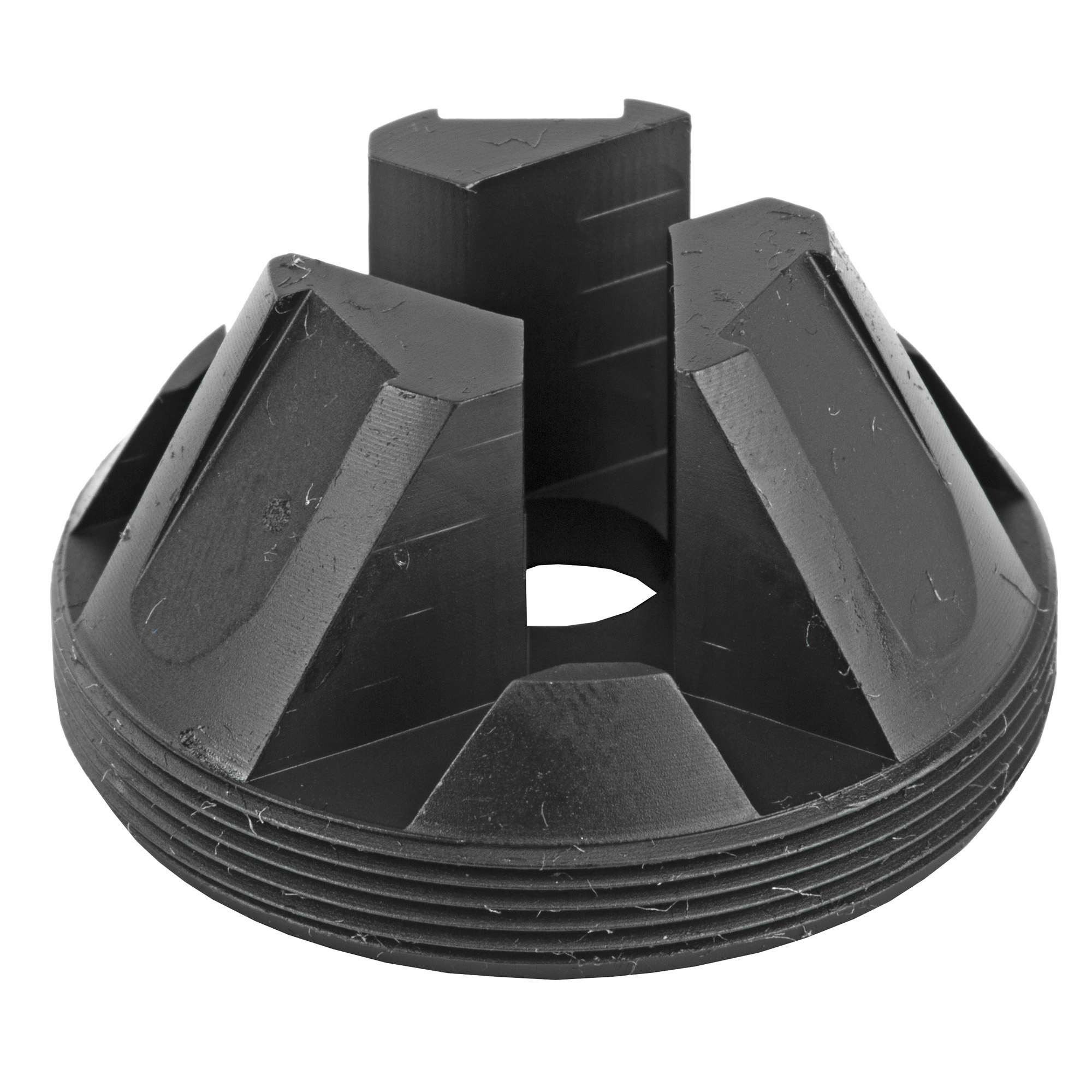 The Charlie Flash Hider Front Cap replaces the standard Flat Front Cap that ships standard with Chimera 300 and Saker ASR (all models). This Trifecta-design flash hider suppresses excess visual flash on SBRs and full-auto firearms. Using the correct front caps will reduce dB levels between 2-5 dB. Charlie accessories are compatible with Chimera 300 and Saker ASR (all models).