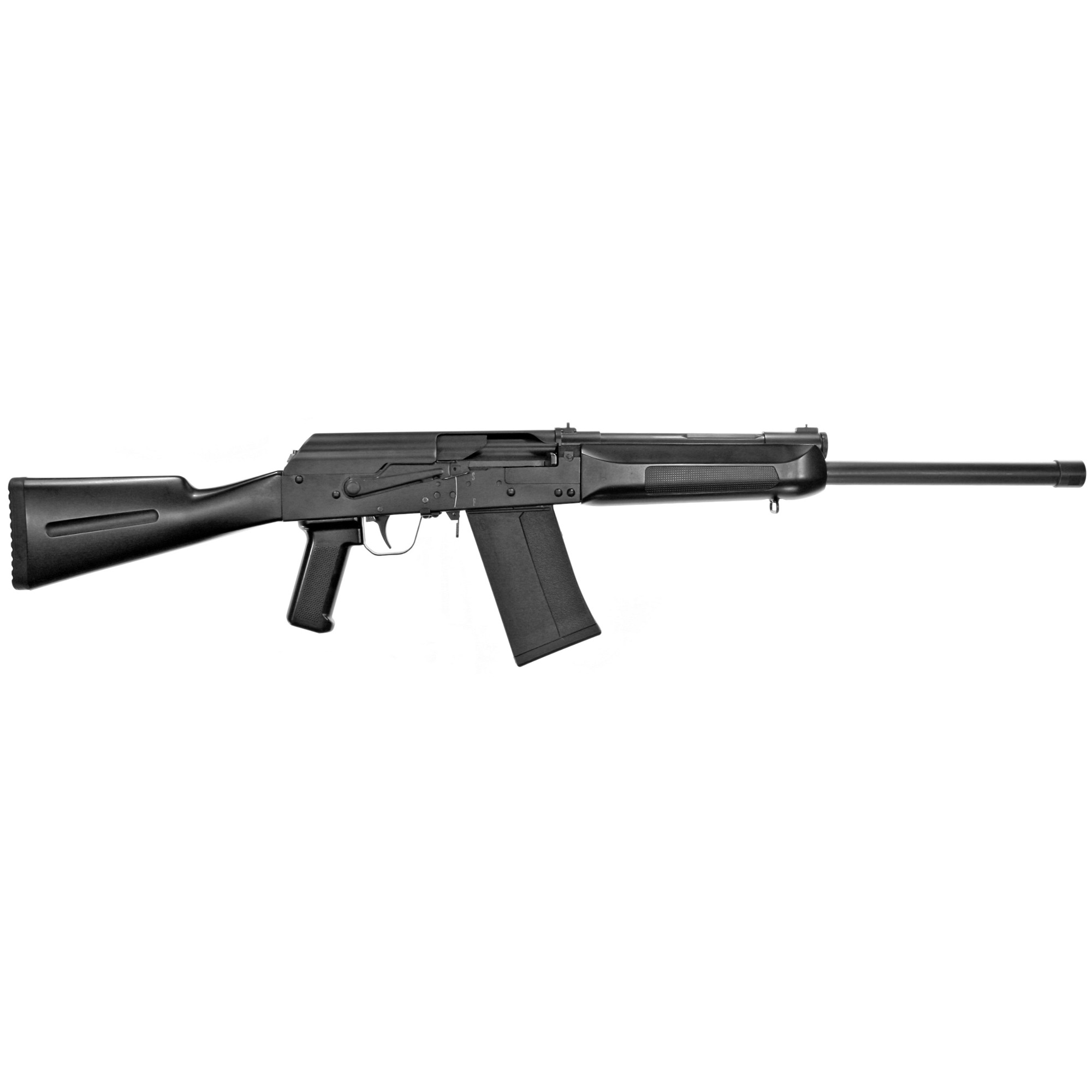 "The Lynx 12 is the next evolution in 12 Gauge Kalashnikov styled shotguns. This shotgun is similar to the Russian IZ 109 AK shotgun in design but offers many more shooter friendly features. The Lynx 12 interchanges with most Saiga parts like stick mags"" handguards & muzzle devices. You can easily upgrade the rear stock to a Tactical set up if you desire. Hammer forged bolt for increased strength and long life. Any Saiga 12 style magazine is compatible. Chrome lined 19"" barrel"" 3"" chamber."
