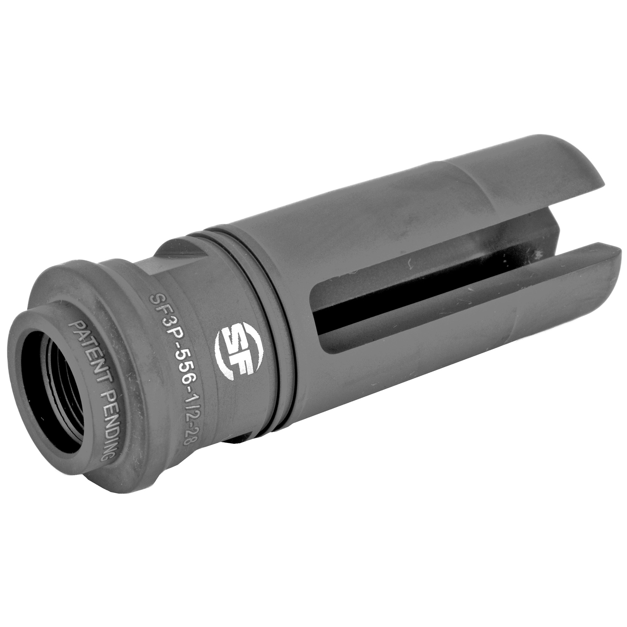 """The advanced SureFire SF3P-556-1/2-28 three-prong flash hider"""" which fits M4/M16 weapons and variants with 1/2x28 muzzle threads"""" features a patent-pending design that greatly reduces muzzle flash-typically greater than 99%-when compared with a plain muzzle. Boasting robust tines built to withstand the rigors of combat"""" the SF3P-556-1/2-28 also serves as a rock-solid mounting adapter for SureFire SOCOM Series 5.56 mm Fast-Attach(R) suppressors"""" the SOCOM556-RC model having placed first in the most extensive and rigorous suppressor testing ever conducted by US Special Operations Command. Precision machined from US mill-certified heat-treated stainless steel bar stock-and including high-precision single-point cut threads for optimum thread interface-the SF3P-556-1/2-28 flash hider is given a black Ionbond DLC coating to provide maximum protection under harsh environmental conditions and to facilitate cleaning"""" even after extreme use. When used in conjunction with a SureFire SOCOM Series suppressor"""" the patent-pending design of the SF3P-556-1/2-28 provides multiple bearing surfaces to ensure superior suppressor alignment and to prevent the audible ringing of tines inside the suppressor. A rear labyrinth seal minimizes potential carbon buildup in the indexing system and facilitates suppressor removal after extended firing. SureFire flash hiders are individually inspected for concentricity and alignment and are covered by SureFire's No-Hassle Guarantee."""