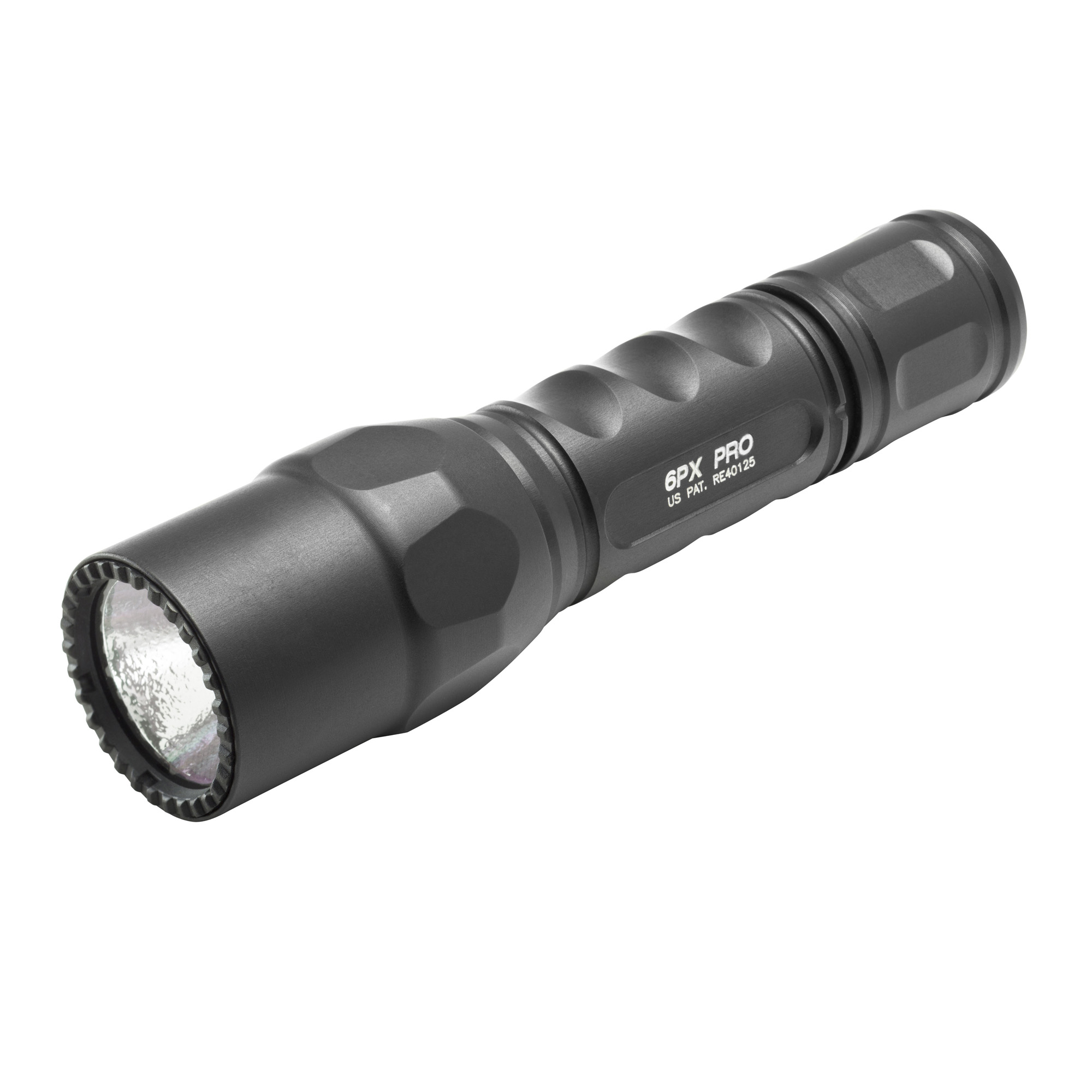 """The 6PX Pro's high-efficiency LED-virtually immune to failure since there's no filament to burn out or break-provides two light output levels: a brilliant"""" penetrating"""" perfectly pre-focused 600-lumen beam"""" and a 15-lumen low-output setting that lets you greatly extend the runtime per set of batteries"""" an invaluable option when you find yourself miles from civilization. Press the tail cap switch for momentary-on low"""" press further to click constant-on low"""" return to off and press or click on again within two seconds for high. The high-strength aerospace aluminum body is smoothly sculpted for a comfortable"""" secure grip and is hard anodized to military specifications for extreme resistance to scratches"""" abrasion"""" and corrosion. A polycarbonate micro-textured reflector delivers a comparatively wider beam with generous peripheral light. Surefire also makes a polymer-body version of this light"""" the G2X Pro"""" and a single-output version with a tactical tail cap switch"""" the 6PX Tactical."""