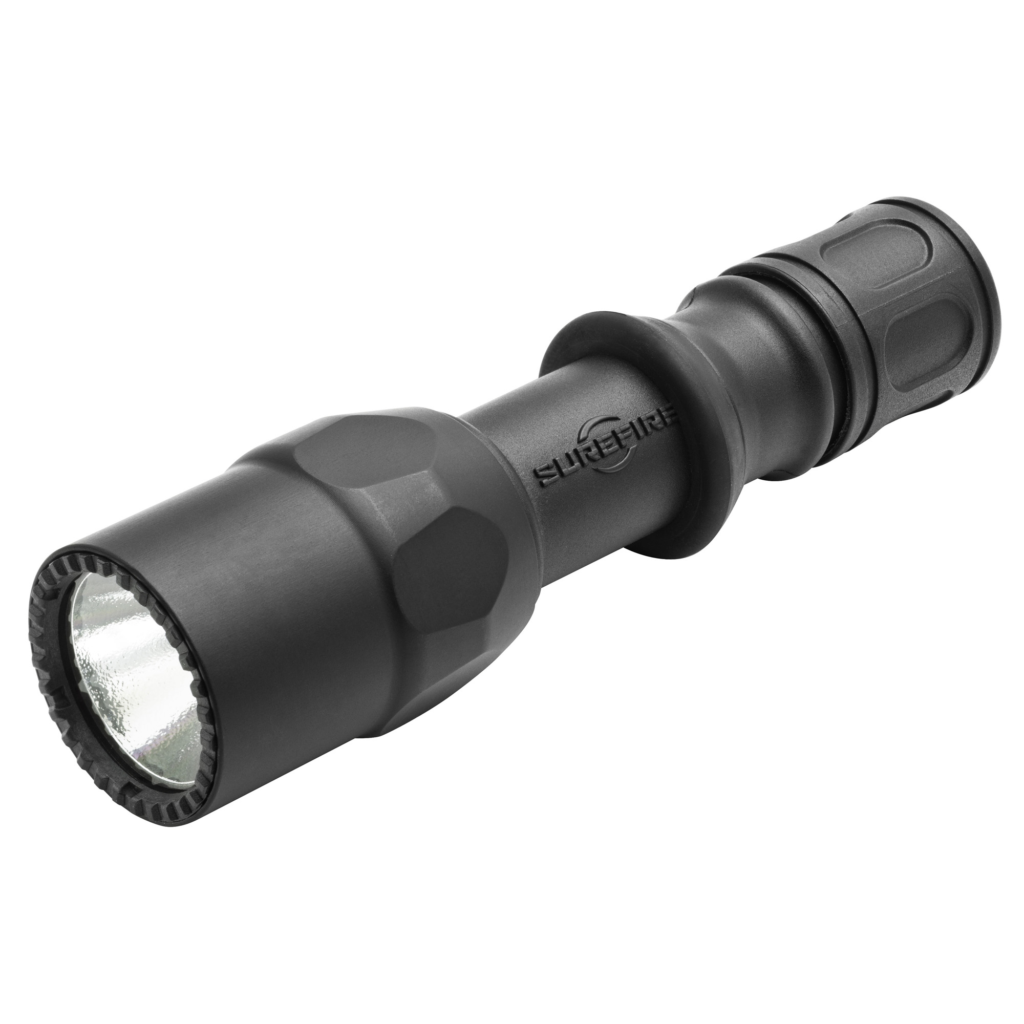 """The single-output G2ZX"""" designed and built specifically for tactical use"""" produces 600 lumens of brilliant white light from a high-performance LED that is virtually immune to failure since there's no filament to burn out or break. It uses a micro-textured polycarbonate reflector to create a smooth beam with optimal light distribution-excellent reach combined with significant surround beam for peripheral vision. The G2ZX bezel is matte-black Mil-Spec hard-anodized aerospace aluminum and the body is tough"""" corrosion-proof Nitrolon(R) polymer"""" both providing superior scratch"""" corrosion"""" and abrasion resistance. The Combat Grip design-reduced-diameter mid-section and rubber grip ring-is perfect for flashlight/handgun techniques and also provides a secure hold even with wet"""" cold"""" or gloved hands. Features ergonomic tactical switching-press the tail cap switch for momentary-on"""" twist the tail cap for constant-on."""
