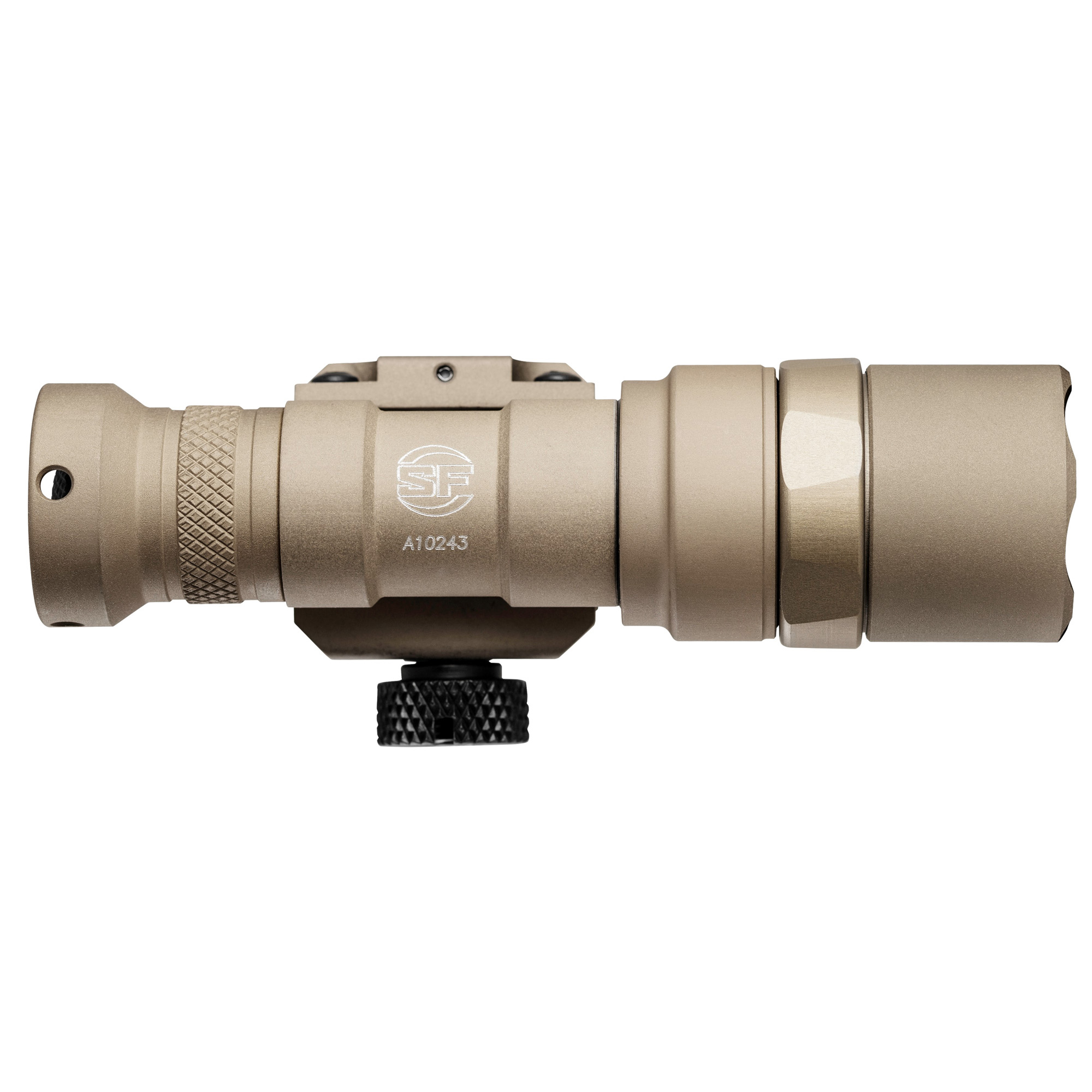 """The M300 Mini Scout is a powerful"""" lightweight weapon-mounted light-powered by a single 123A lithium battery-that features a virtually indestructible LED"""" which generates 500 lumens of light focused by a TIR lens into a high-intensity beam with plenty of reach for close- to mid-range operations. The rugged M300 easily and securely attaches to MIL-STD-1913 Picatinny rails via its integral thumbscrew clamp and is activated by clicking its pushbutton tail cap switch or pressing its pressure-activated tape switch"""" included on appropriate models. Machined from lightweight aerospace aluminum with a Mil-Spec hard anodized finish and O-ring sealed to keep out the elements"""" the ultra-compact M300 will withstand the rigors of combat without weighing down your weapon."""