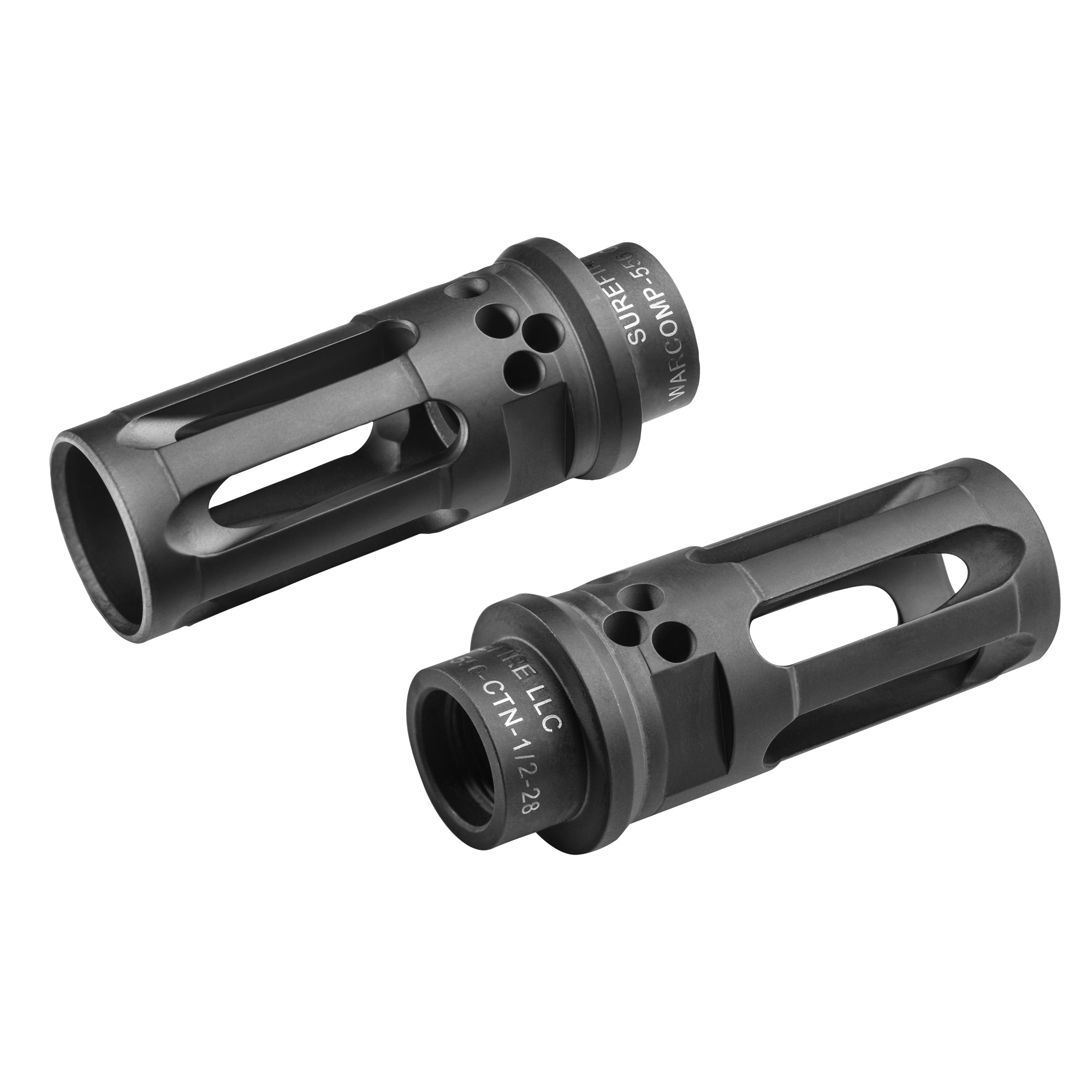 """SureFire WARCOMP-556-CTN is a closed tine flash hider that is neutrally ported to aid in recoil management. Compared to that of the open tine adapters"""" the WARCOMP-CTN for 5.56 caliber weapons mimics that of a traditional birdcage flash hider along with being a rock solid mounting option for SOCOM Series Fast-Attach(R) suppressors. The muzzle device also has wrench flats machined into the sides of the adapter for aid in installation. The closed tine option does not have as much flash reduction to that of the open tine adapter but still is very capable."""