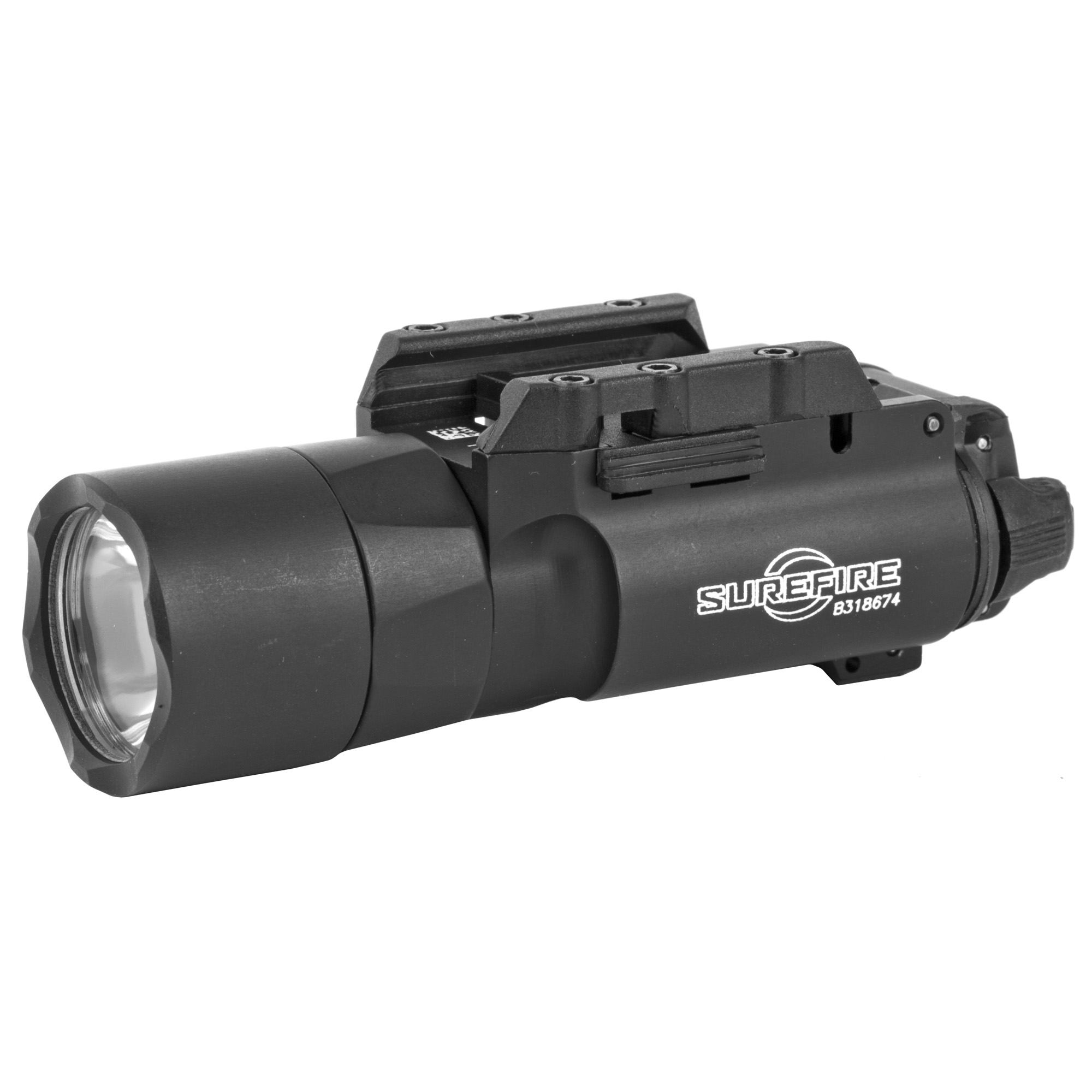 """This enhanced version of Surefire's best-selling X300 Ultra now delivers a stunning 1""""000 lumens of LED-generated output focused by a precision TIR lens"""" creating a far-reaching high intensity beam - with a larger center spot - that offers the power to positively identify threats at significant distances while temporarily impairing an adversary's vision. This intense beam also provides extensive peripheral illumination for maintaining situational awareness. Activating the X300 Ultra is done via ambidextrous switching located at the rear of body"""" providing one-finger control - press the switch on either side for momentary-on activation"""" flip up or down for constant-on activation. Optional DG grip switches (for pistols) and a pressure activated XT07 tape switch (for long guns) permit the X300 Ultra to be activated without altering your grip on your weapon. The X300 Ultra can be attached to a pistol or a long gun since its Rail-Lock(R) system permits rapid attachment to and removal from either Universal or Picatinny rails. Its high-strength aerospace aluminum body is Mil-Spec Hard Anodized for superior toughness and is O-ring and gasket sealed to make it weatherproof."""
