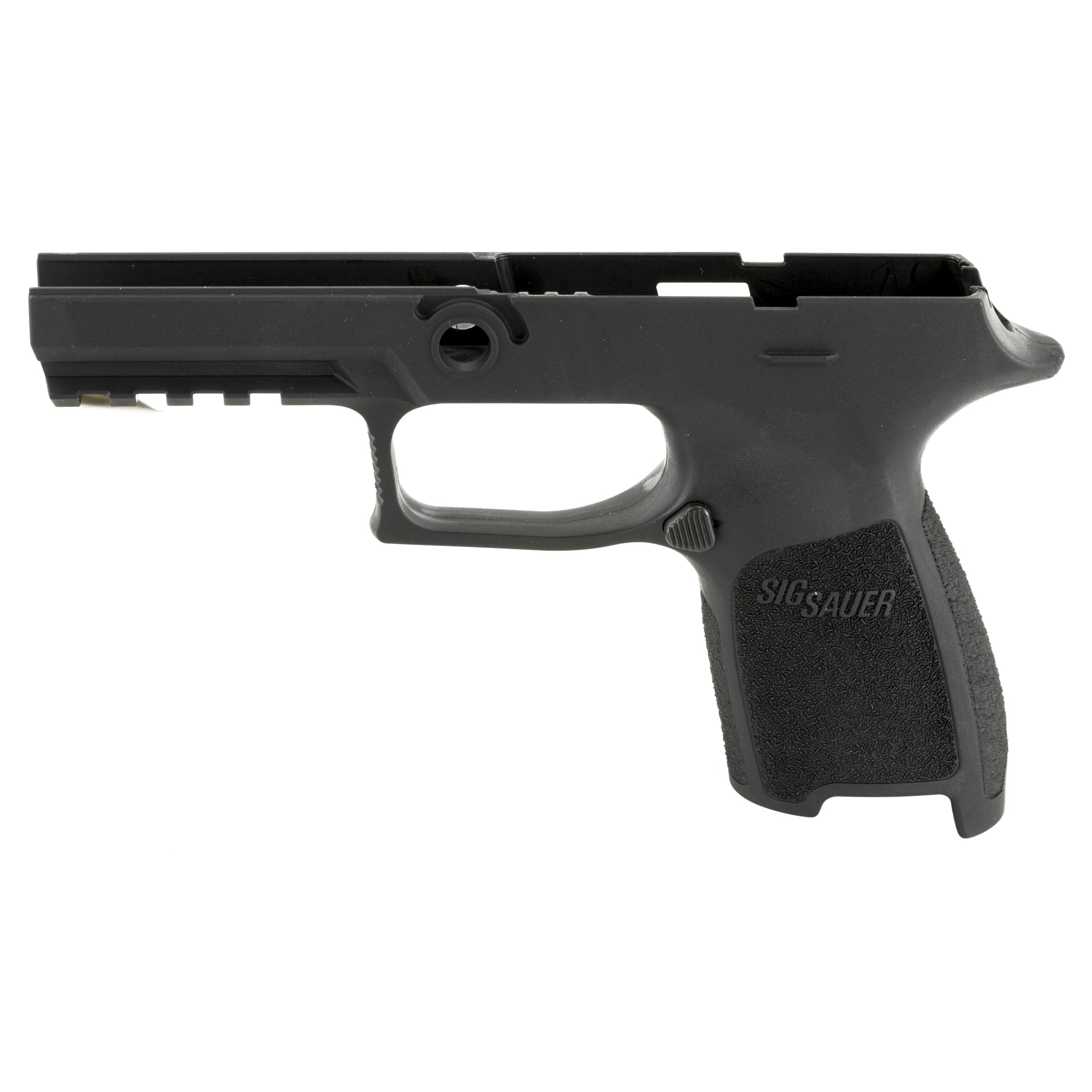 Install your P320/P250 firing control unit into this Grip Module Assembly to convert to a P320 or P250 compact chambered in .45ACP with a grip size of your choice. Requires the .45ACP slide and barrel.