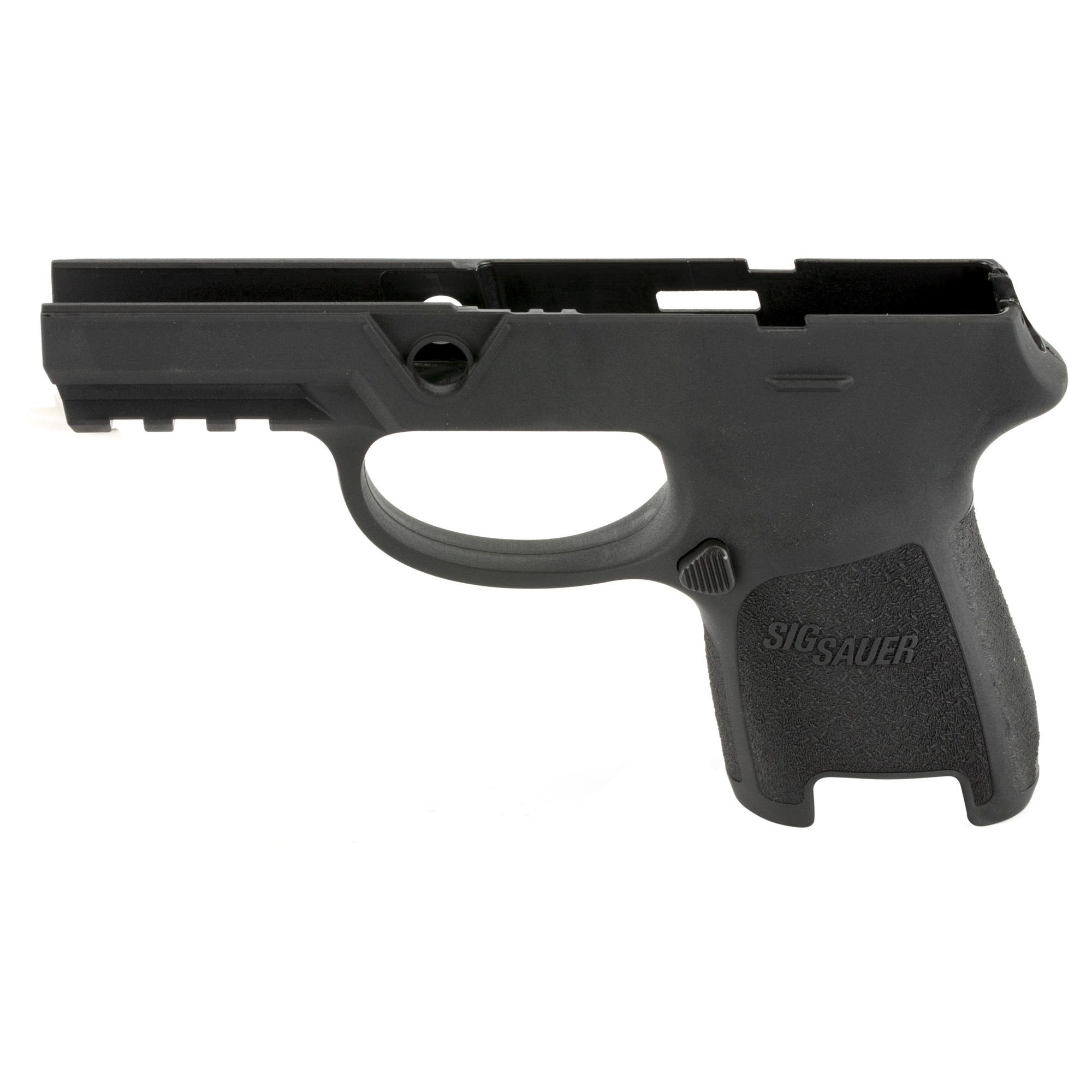 "Install your P320/P250 firing control unit into this Railed Grip Module Assembly to convert to a P320 or P250 compact chambered in 9mm"" .357 SIG"" .40AUTO with your selected grip size. Requires the 9mm"" .357 SIG and .40AUTO slide and barrel."