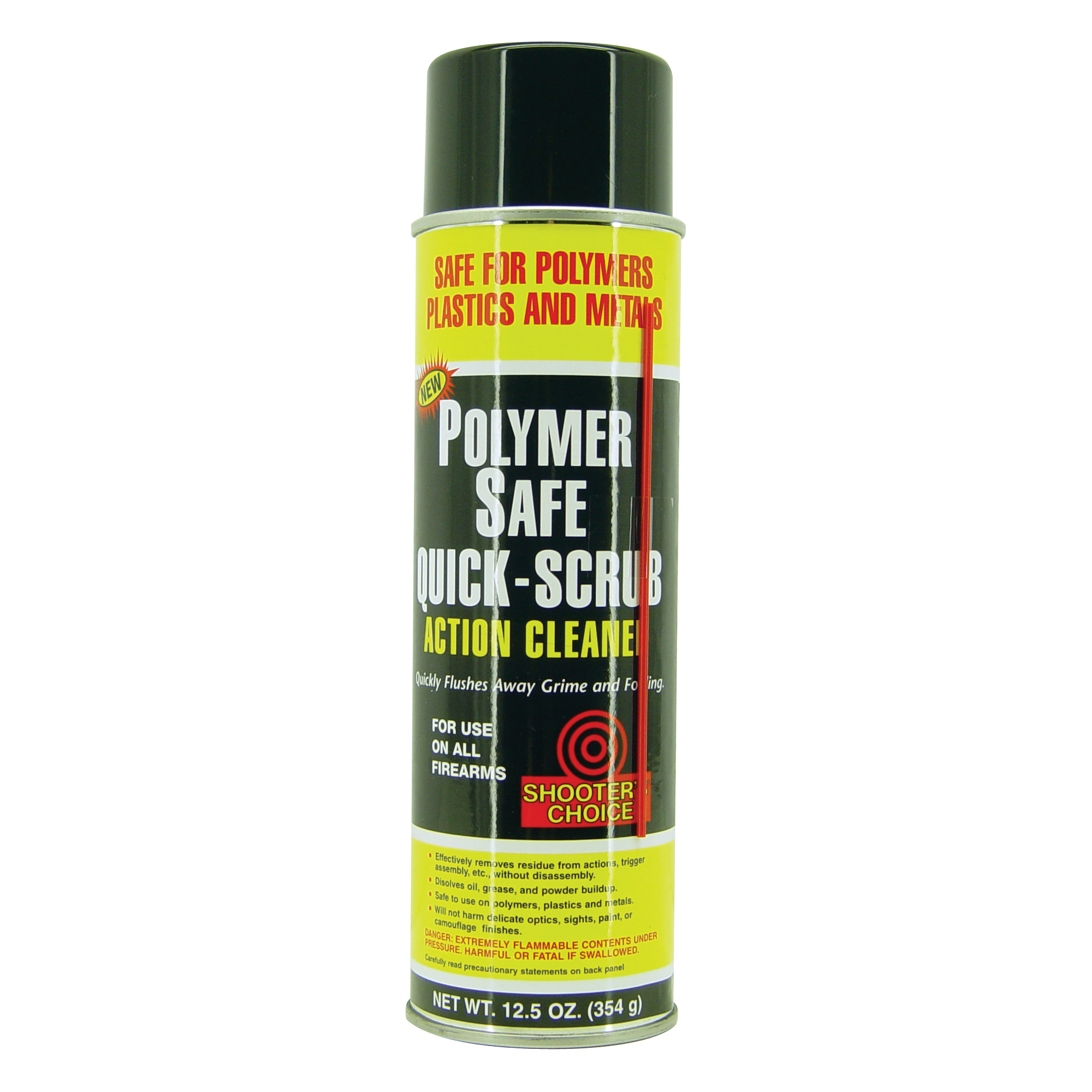 """Shooter's Choice Polymer Safe Quick Scrub is harmless to polymers"""" plastics"""" and camouflage finishes"""" yet quickly flushes away fouling. Perfect for cleaning actions and trigger assemblies (without disassembling). Works great on all firearms."""