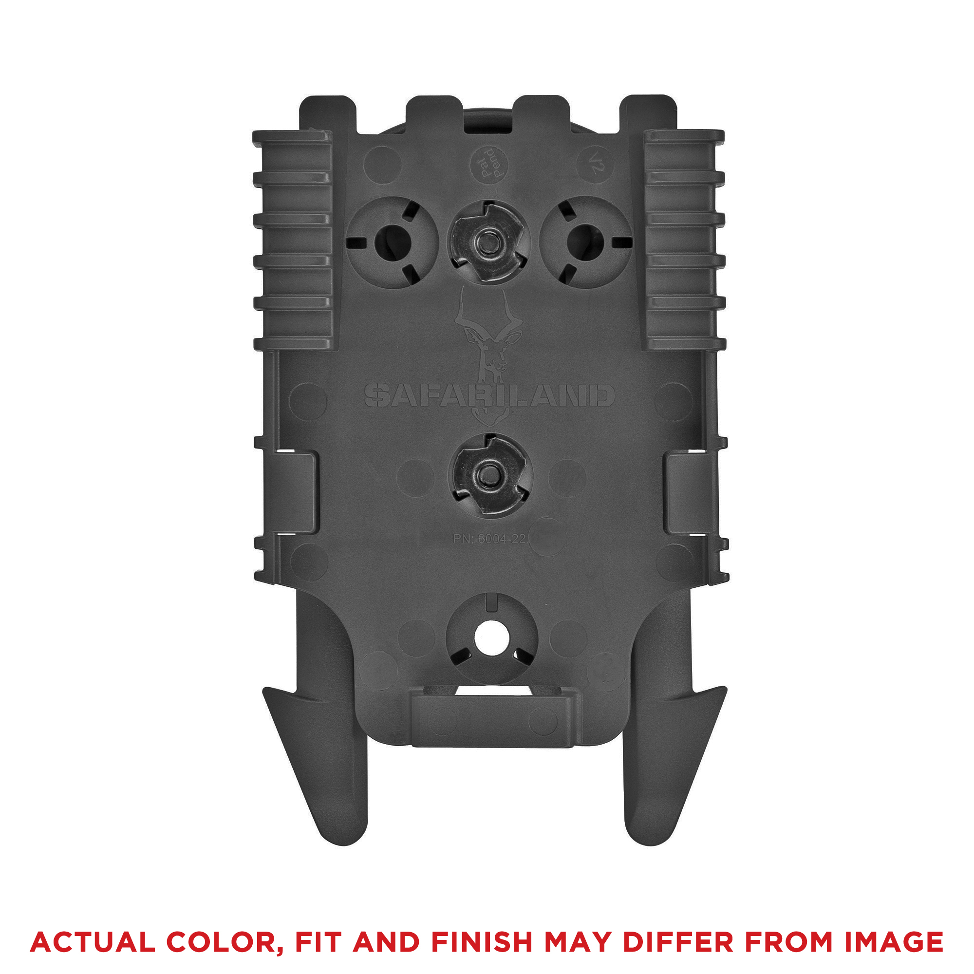 "The MLS 16 Accessory Locking Fork mounts directly to the back of Safariland pouches with the 2-hole pattern. It can then be threaded through MOLLE loops or connected to the QLS 22 Receiver Plate. Use with this receiver plates allows for quick transfer of gear between attachment points such as a MOLLE vest"" belt loop"" tactical leg shroud or other stable platform. This fork is also required when use of the smaller ELS plates is warranted. This injection molded piece is adjustable to a variety of angles for convenient carry. Rearrange gear quickly and easily without the use of tools. It is designed to break away at 140 lbs. per military specifications."