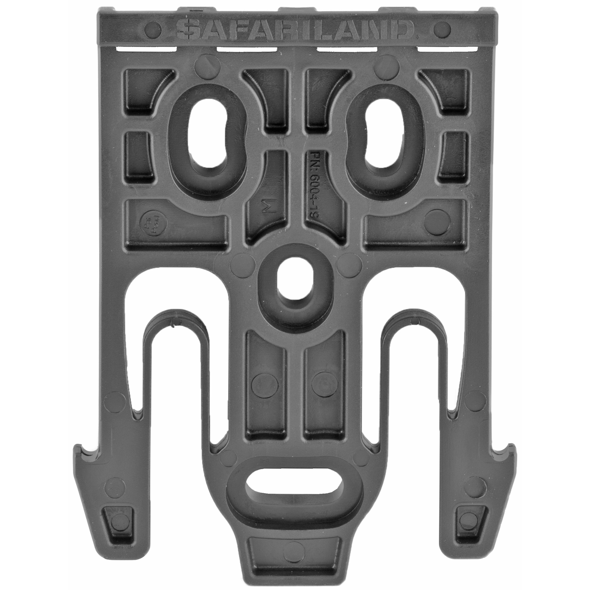 "The QLS 19 Locking Fork mounts directly to the back of any Safariland(R) 2-hole pattern pouch or 3-hole pattern holster. The combination can then be connected to either the QLS 22 or QLS 22L Receiver Plate. Use with either of these receiver plates allows for quick transfer of holster between attachment points such as a belt loop"" tactical leg shroud or other stable mounting platform. The QLS fork and plate combination passes the Level I Retention(TM) pull test."