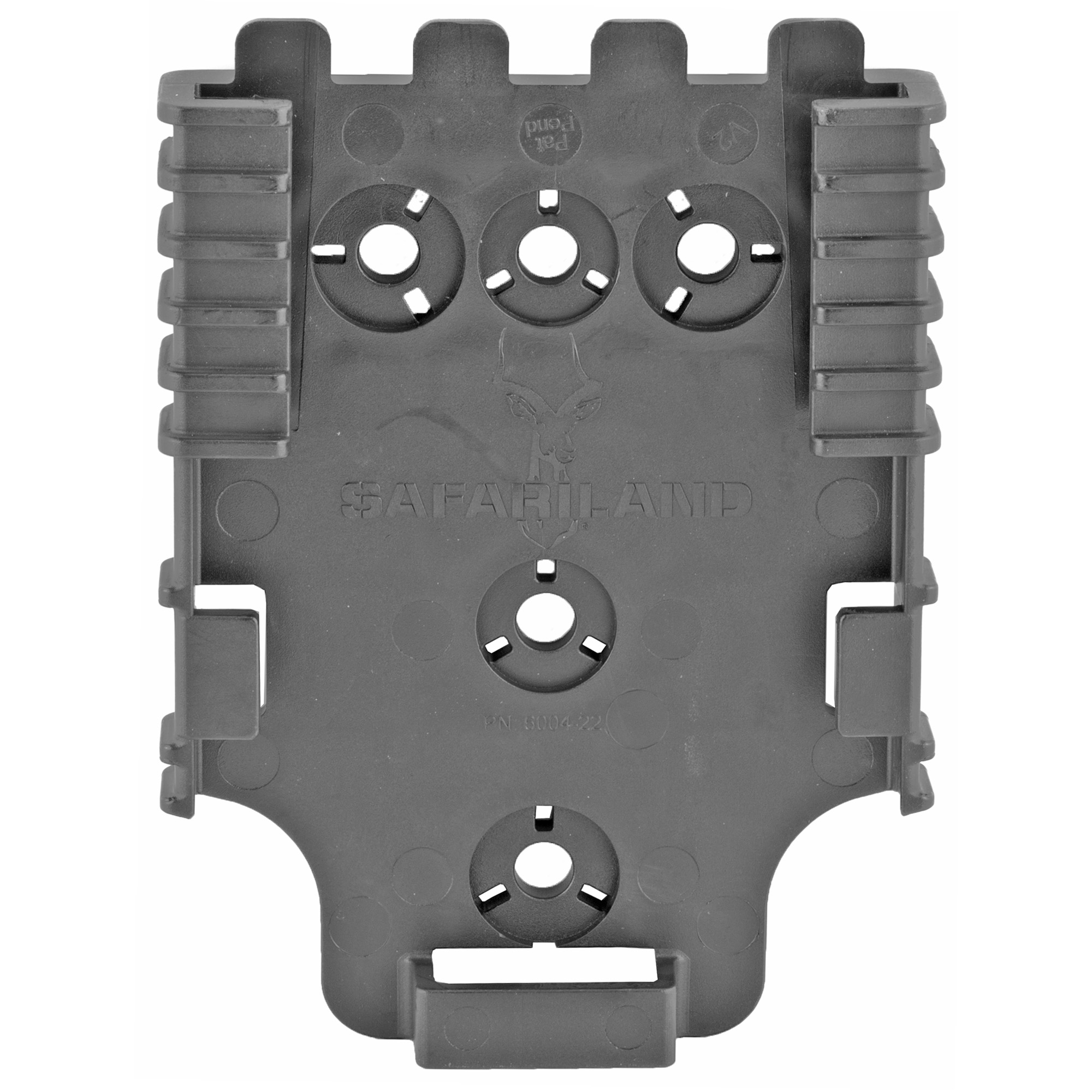 "The QLS 22 Receiver Plate is designed to accept the QLS 19 Locking Fork. Constructed of injection molded nylon"" it screws onto mounting platforms such as a tactical leg shroud"" belt loop"" wall or any other stable location. The system (fork and plate) works with any Safariland(R) 2-hole pattern pouch or 3-hole pattern holster. Rearrange gear quickly and easily without the use of tools. The QLS fork and plate combination passes the Level I Retention(TM) pull test."