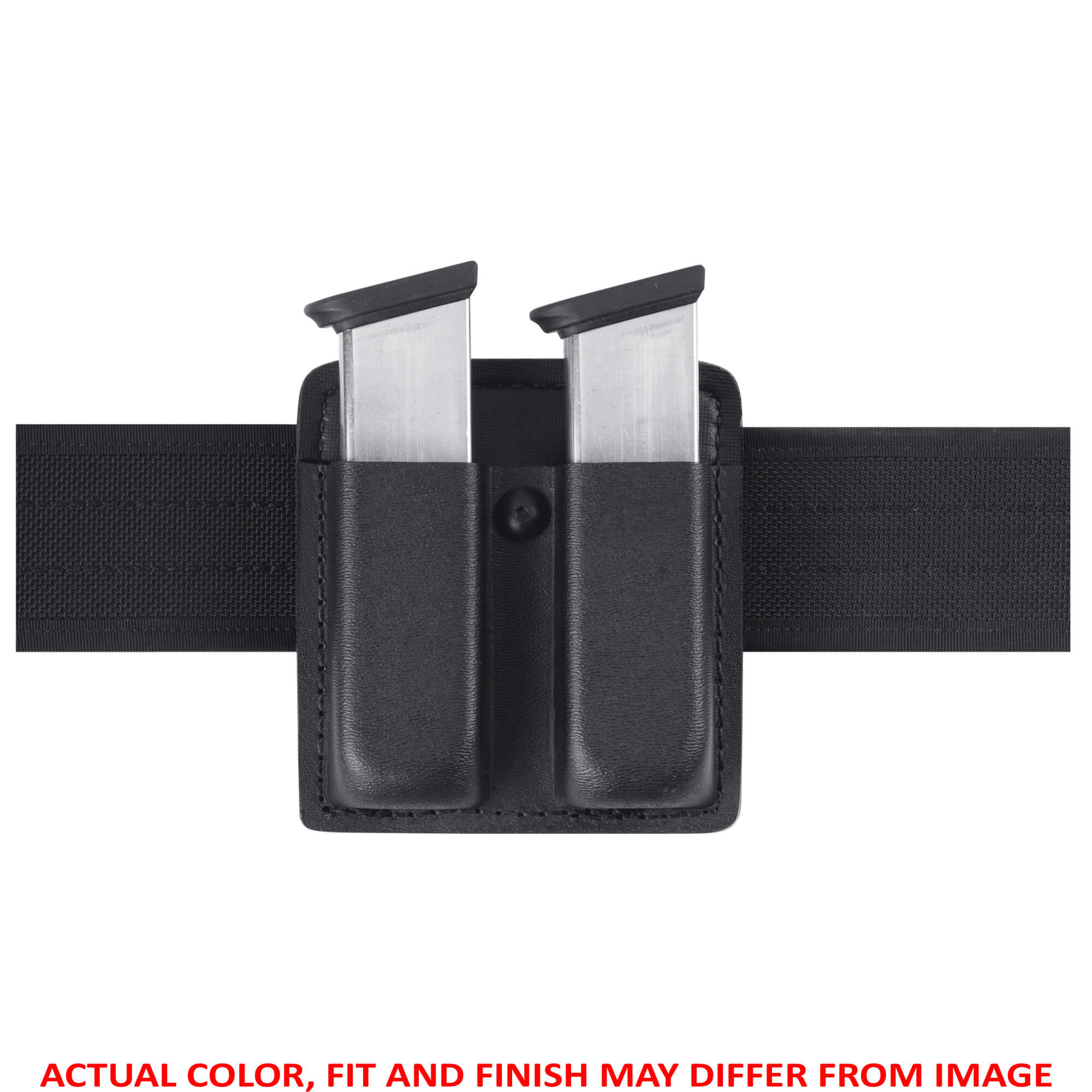 "The Model 73 is an open top double magazine pouch designed to carry two magazines of ammunition on a 2.25"" (58mm) duty belt. It features both vertical and horizontal carry on the belt and secures the magazine in a butt-up position on the belt for easy access. A tension screw allows retention adjustment by the user. It is constructed of SafariLaminate."