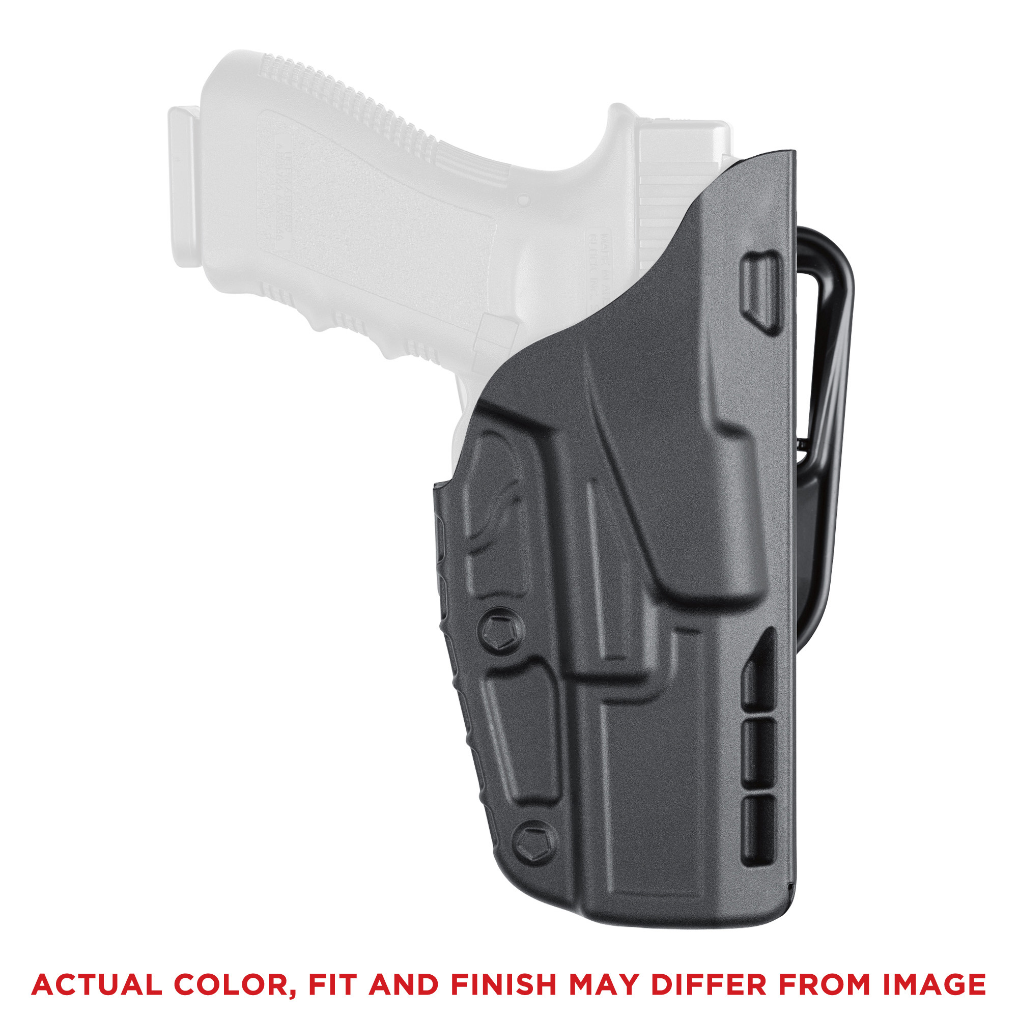 """This concealment belt slide holster with ALS(R) (Automatic Locking System) secures weapon once holstered. Simple straight up draw once release is deactivated. Open-top design without SLS for quick retrieval of weapon. Constructed of SafariSeven(TM)"""" a proprietary nylon blend that is completely non-abrasive to a firearm's finish."""