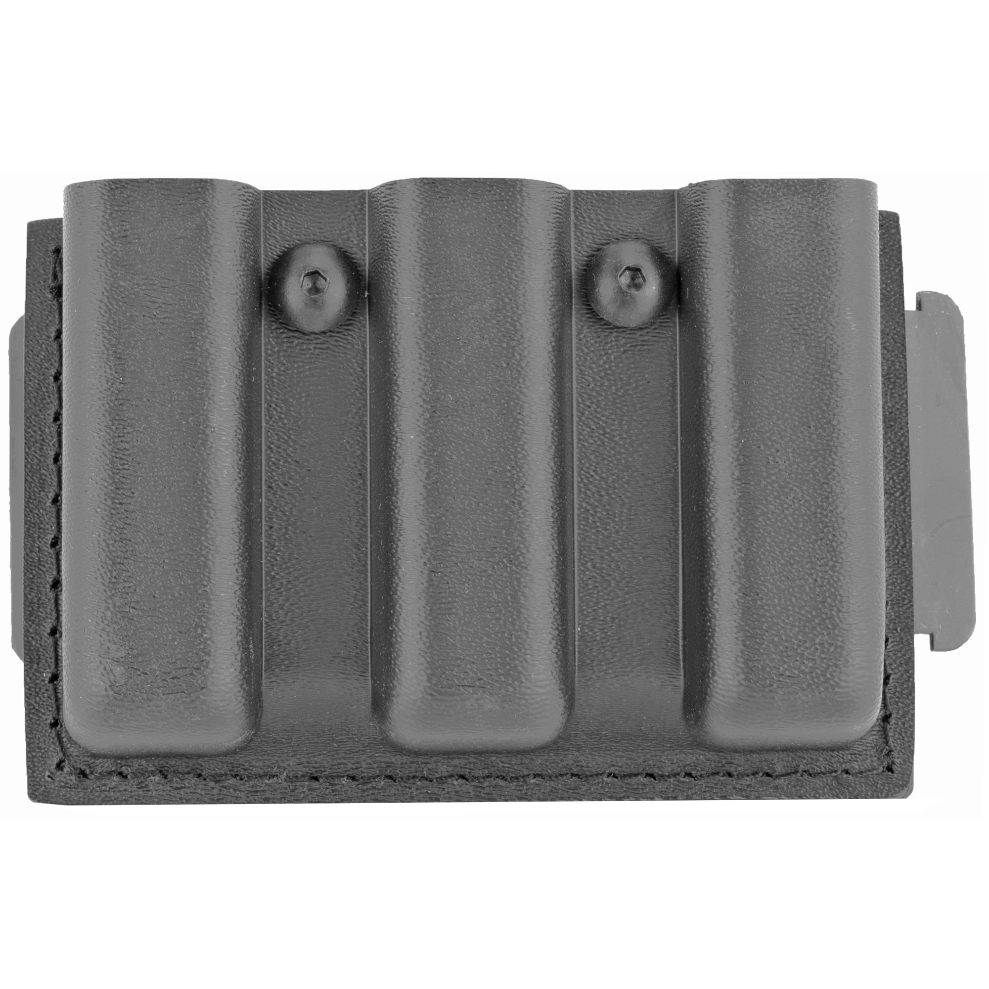 "Model 775 Slimline Open Top Triple Magazine Pouch is designed to carry three magazines on a 2.25"" (58mm) duty belt. The 775 features both vertical and horizontal belt slots"" allowing it to ride in either a vertical or low-profile horizontal position*. A magazine tension screw located between the two pouches allows for easy retention adjustment."