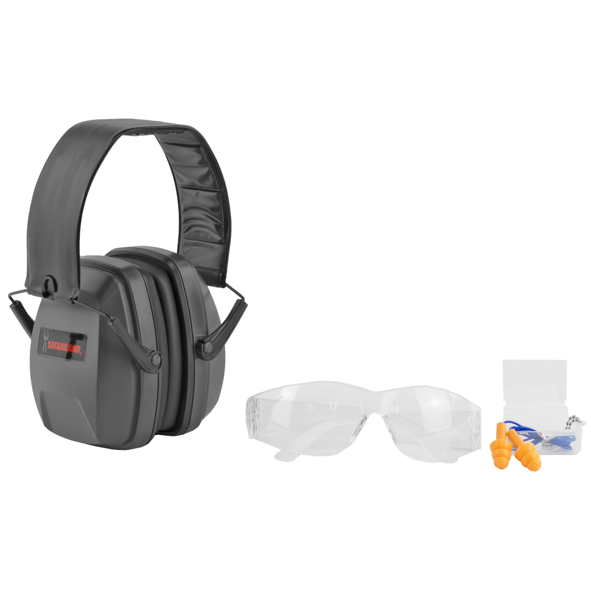 "The Safariland Range Kit includes everything you need at the Shooting Range. A pair of clear HD polycarbonate shooting glasses for eye protection. Soft"" pliable"" triple-flange ear plugs provide an optimal seal and an NRR of 23dB. Adjustable earmuffs are also included with a NRR of 26dB and when combined with the earplugs a NRR of 33dB."