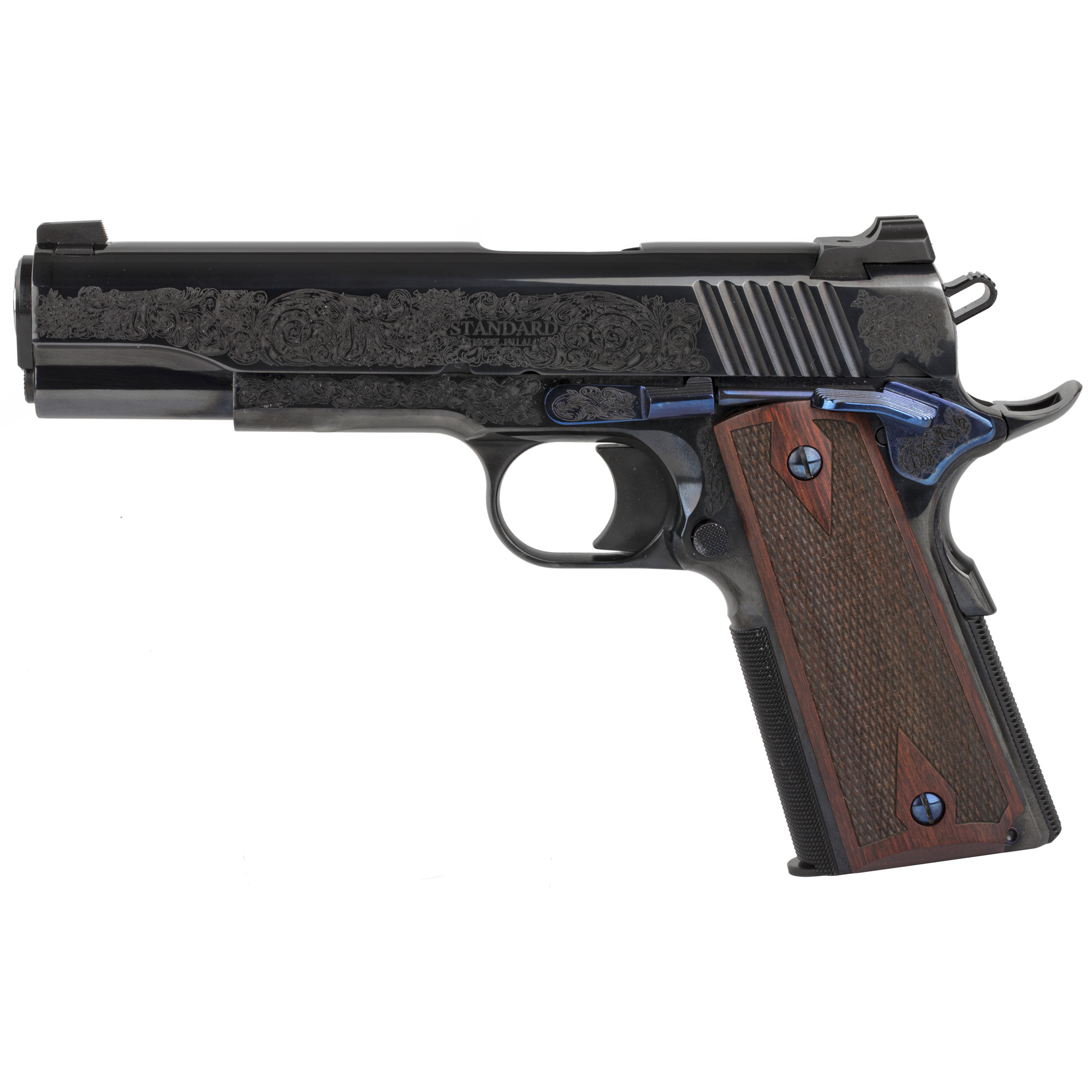 """The Standard Manufacturing 1911 is the pinnacle of the gun making art. This model with its deep Royal Blue Engraved finish is like no other 1911 available anywhere and at any price. To obtain this finish all metal surfaces must be meticulously prepared by our expert craftsman with many labor intensive hours of hand polishing and stoning. No other manufacturer that we know of is capable of producing this level of finish. In fact"""" this Royal Blue finish is only encountered on the very best guns manufactured many decades ago when time and labor was not a major factor but craftsmanship was. At all stages of manufacturing this gun we employ the same fundamental principles. All of the metal to metal fits are as perfect as can be performed by the most skilled gunsmith."""
