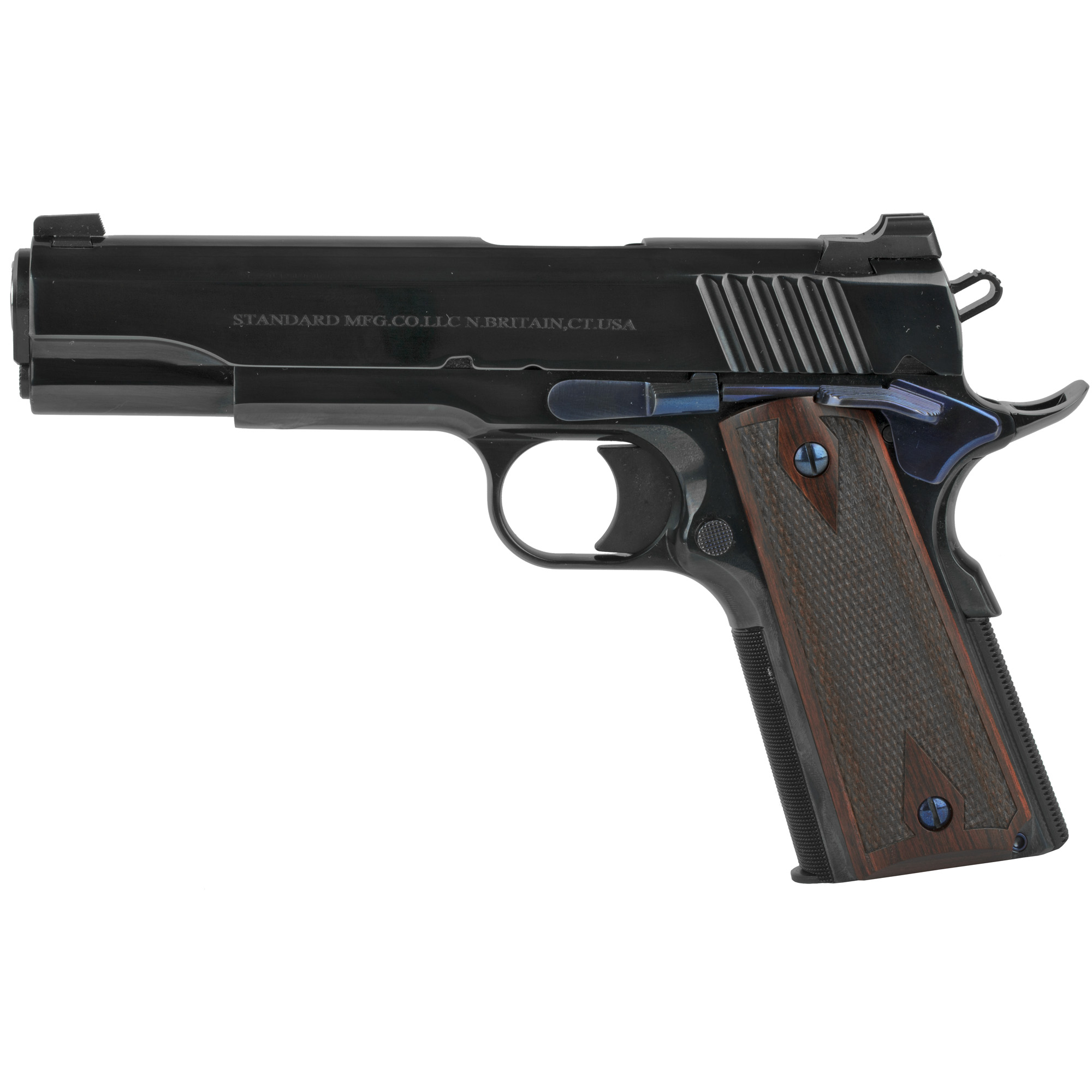 """The Standard Manufacturing 1911 is the pinnacle of the gun making art. This model with its deep Royal Blue finish is like no other 1911 available anywhere and at any price. To obtain this finish all metal surfaces must be meticulously prepared by our expert craftsman with many labor intensive hours of hand polishing and stoning. No other manufacturer that we know of is capable of producing this level of finish. In fact"""" this Royal Blue finish is only encountered on the very best guns manufactured many decades ago when time and labor was not a major factor but craftsmanship was. At all stages of manufacturing this gun we employ the same fundamental principles. All of the metal to metal fits are as perfect as can be performed by the most skilled gunsmith."""