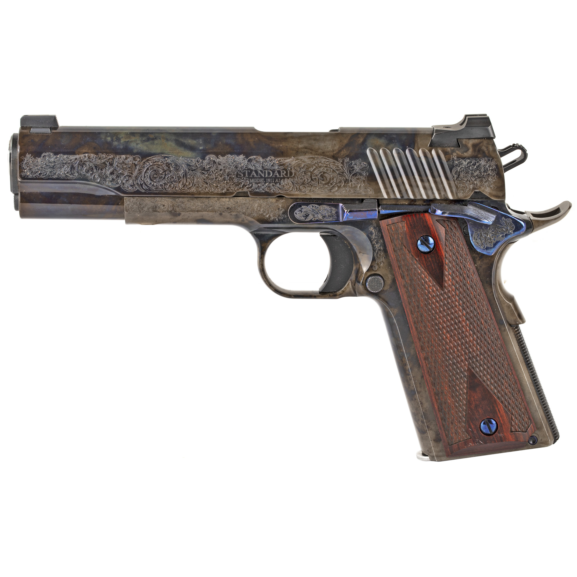 """The 1911CC1 features a 5 inch Stainless Steel match grade barrel with match bushing"""" lowered and flared ejection port"""" up-swept beavertail grip safety"""" extended magazine release"""" and high polished case colored frame"""" slide"""" and small parts."""