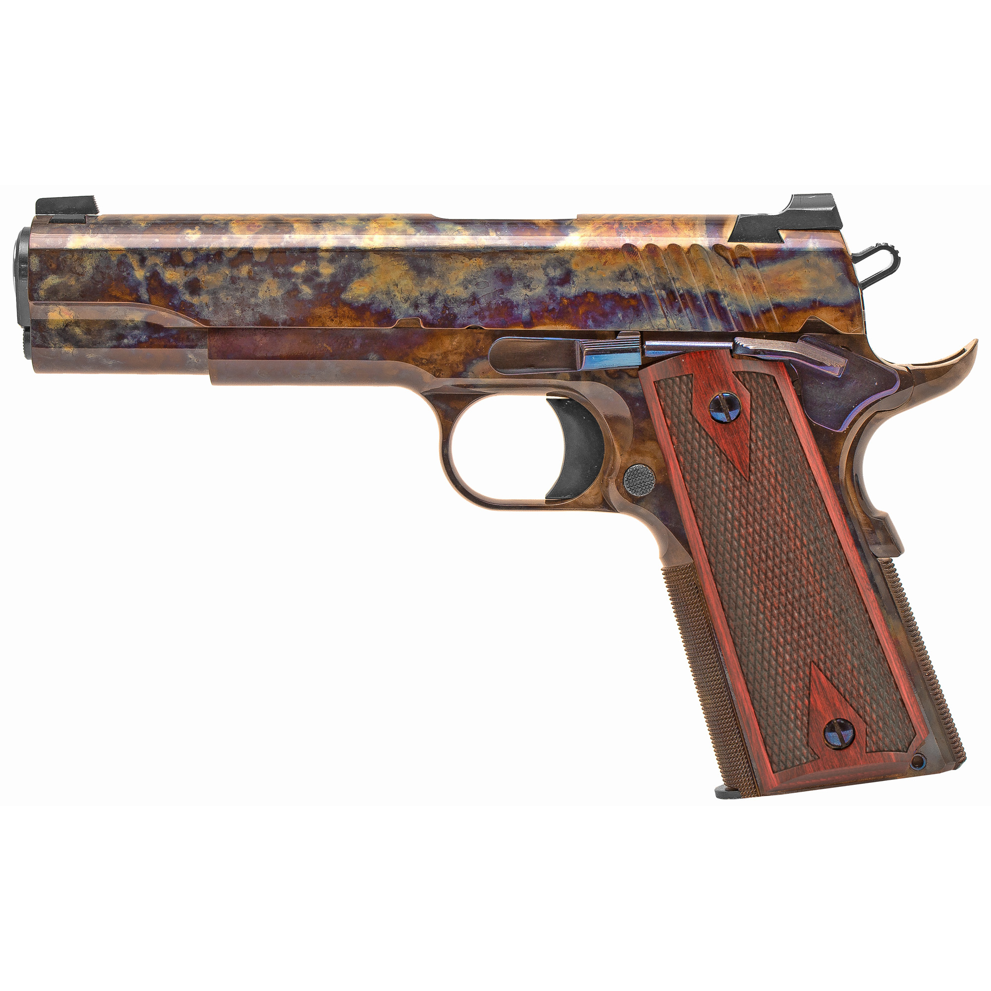 The Standard Manufacturing 1911 is the pinnacle of the gun making art. This model with its case colored finish is like no other 1911 available anywhere and at any price. To obtain this finish all metal surfaces must be meticulously prepared by our expert craftsman with many labor intensive hours of hand polishing and stoning. No other manufacturer that we know of is capable of producing this level of finish. At all stages of manufacturing this gun we employ the same fundamental principles. All of the metal to metal fits are as perfect as can be performed by the most skilled gunsmith.