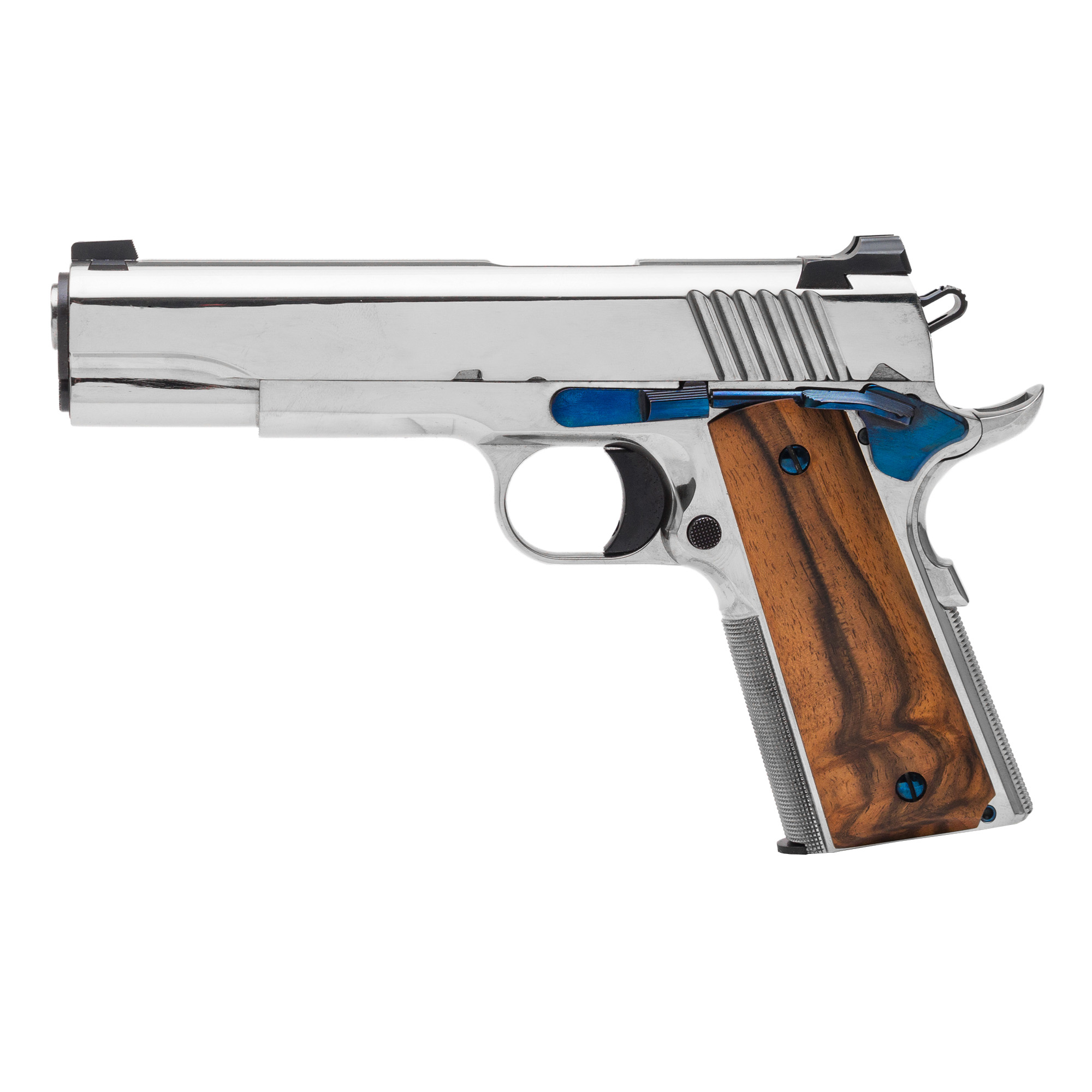 The Standard Manufacturing 1911 is the pinnacle of the gun making art. This model with its nickel finish is like no other 1911 available anywhere and at any price. To obtain this finish all metal surfaces must be meticulously prepared by our expert. No other manufacturer that we know of is capable of producing this level of finish. At all stages of manufacturing this gun we employ the same fundamental principles. All of the metal to metal fits are as perfect as can be performed by the most skilled gunsmith.