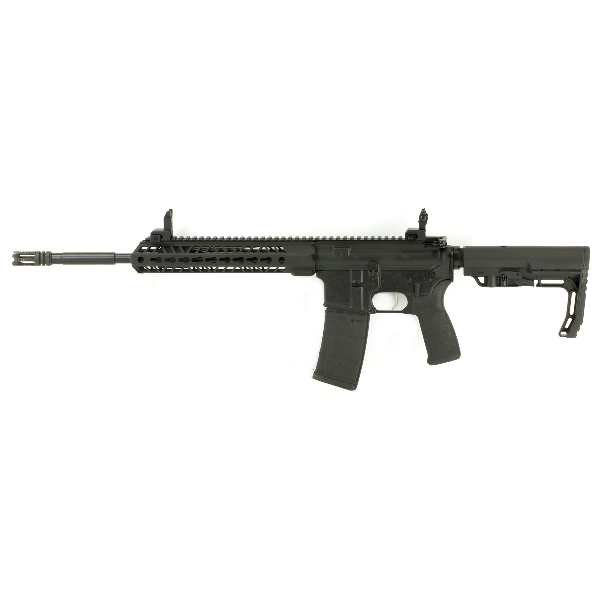 """The Standard Model B is a range-ready carbine with factory installed iron sights"""" a free float barrel"""" and extended aluminum hand guard. This model has 4150 CMV (Chrome Moly Vanadium) barrel chambered in 5.56 NATO. The Model B also features a Mission First Tactical Minimalist Buttstock and a Standard Mfg. Co. 10"""" KeyMod free float hand guard."""