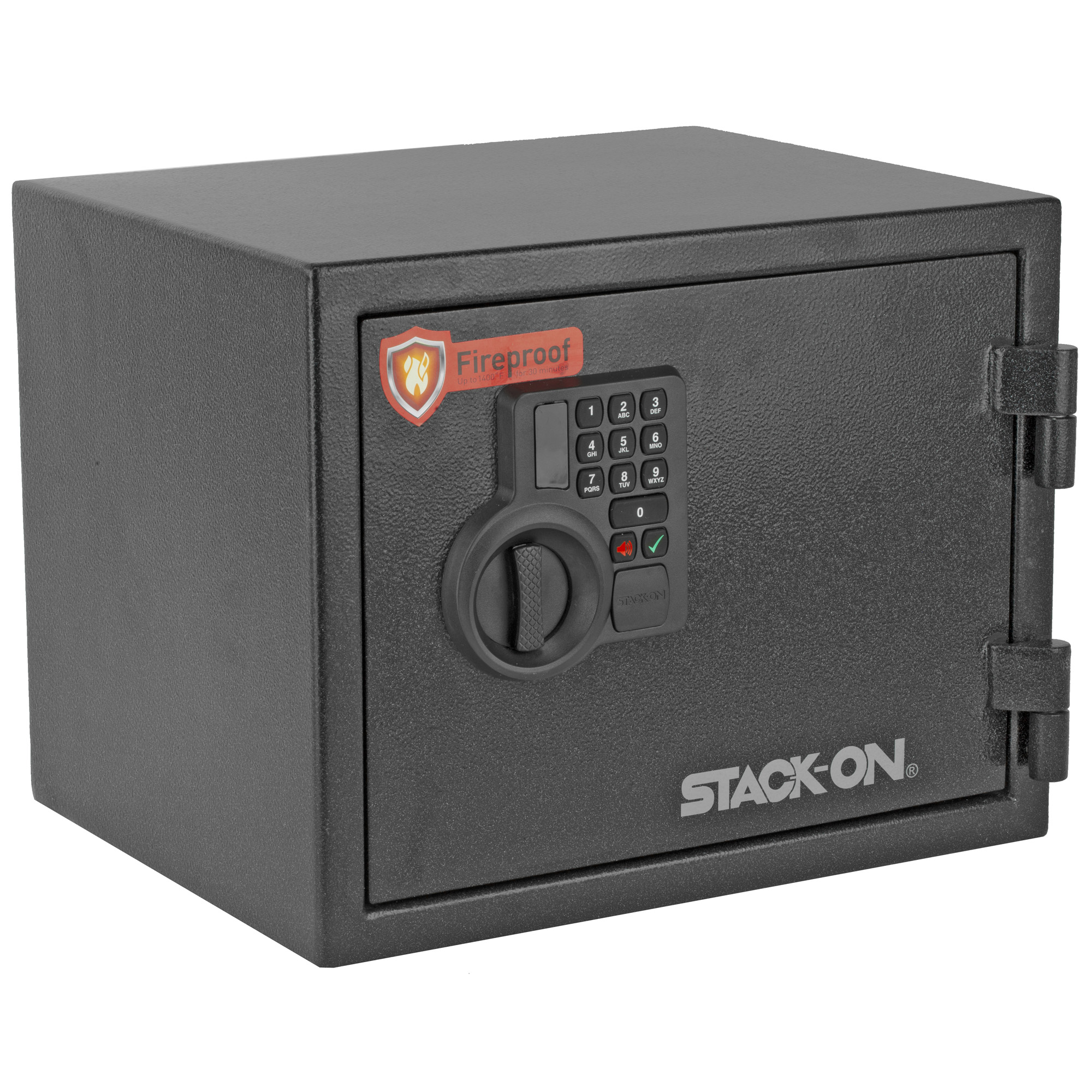 """This small fireproof personal safe features all-steel welded construction to provide protection that goes far beyond that of similarly priced safes. The electronic lock allows you to program a personalized 3-8 digit combination"""" has a low battery warning system"""" and includes a backup key."""