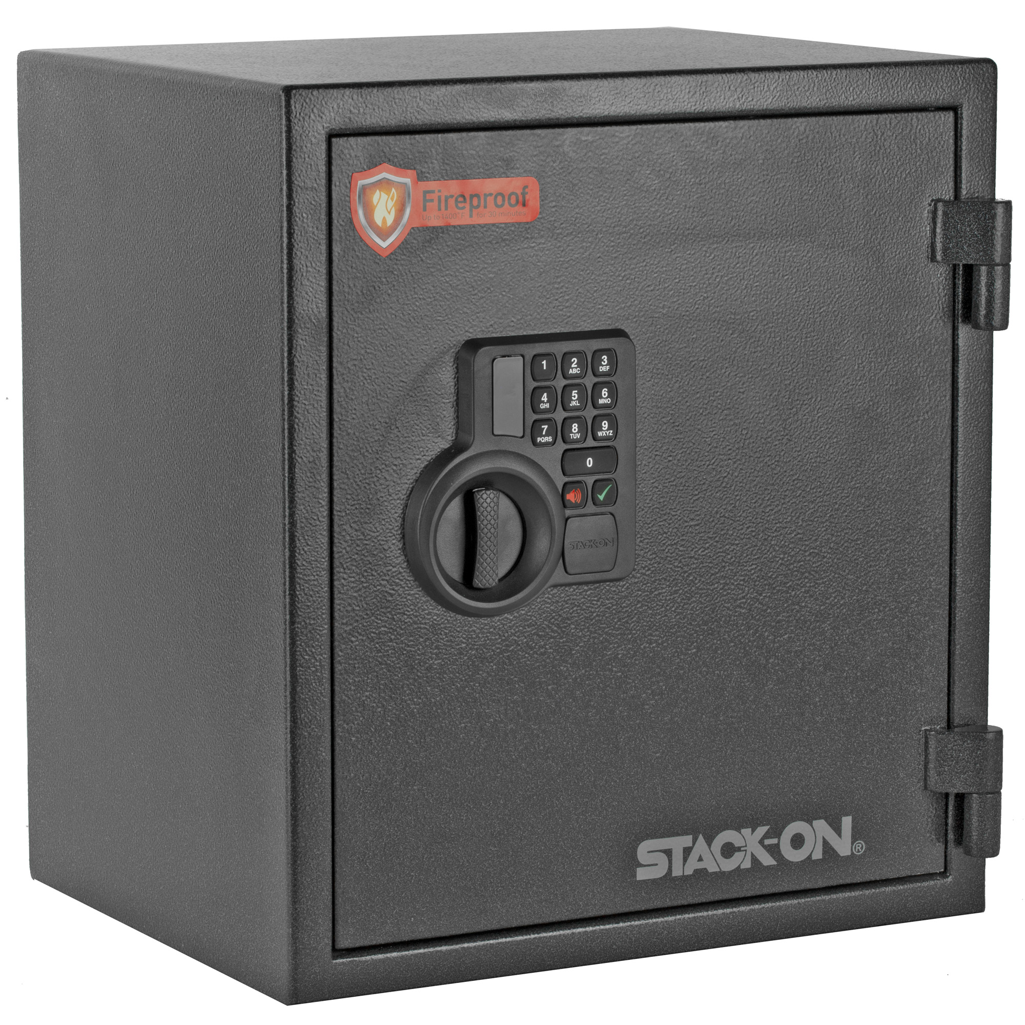 """This medium fireproof personal safe features all-steel welded construction to provide protection that goes far beyond that of similarly priced safes. The electronic lock allows you to program a personalized 3-8 digit combination"""" has a low battery warning system"""" and includes a backup key."""