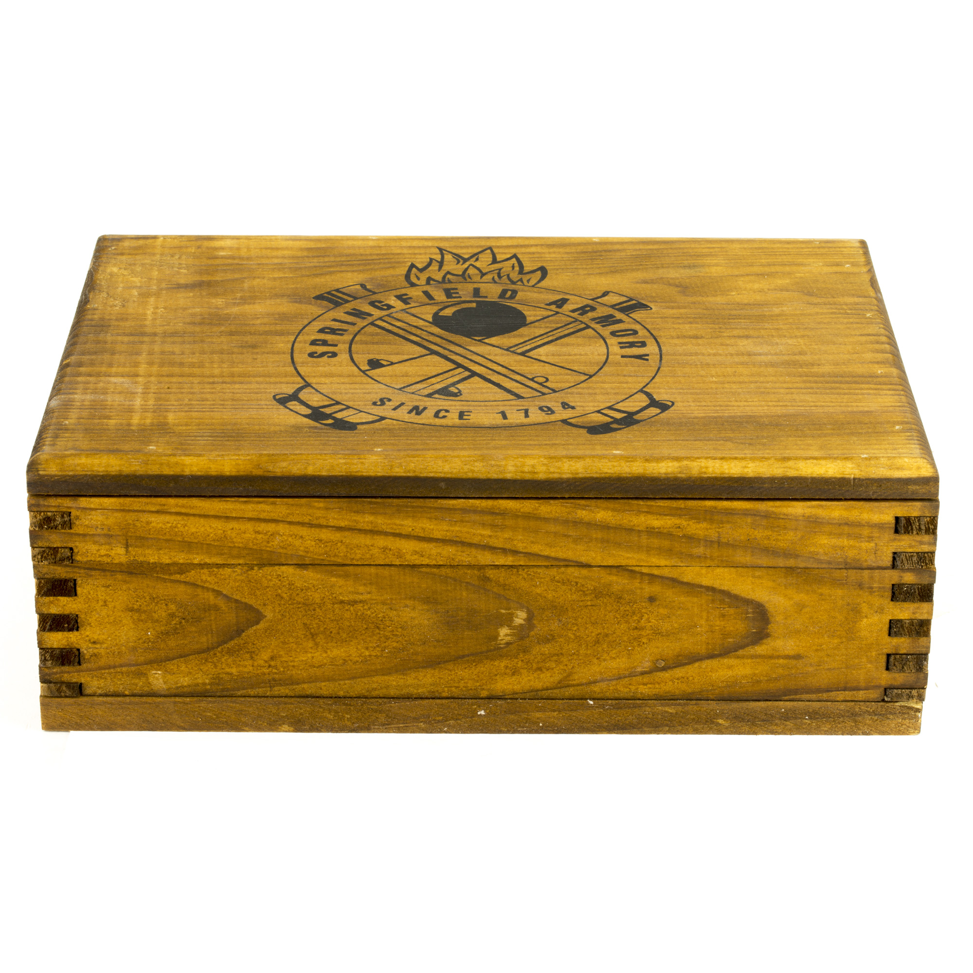 Display your Springfield 1911-Al in this beautiful wooden presentation and storage box. A handsome lined wooden box is perfect for showing off your Springfield Armory 1911 with class. It holds one 1911 style pistol and a spare magazine.