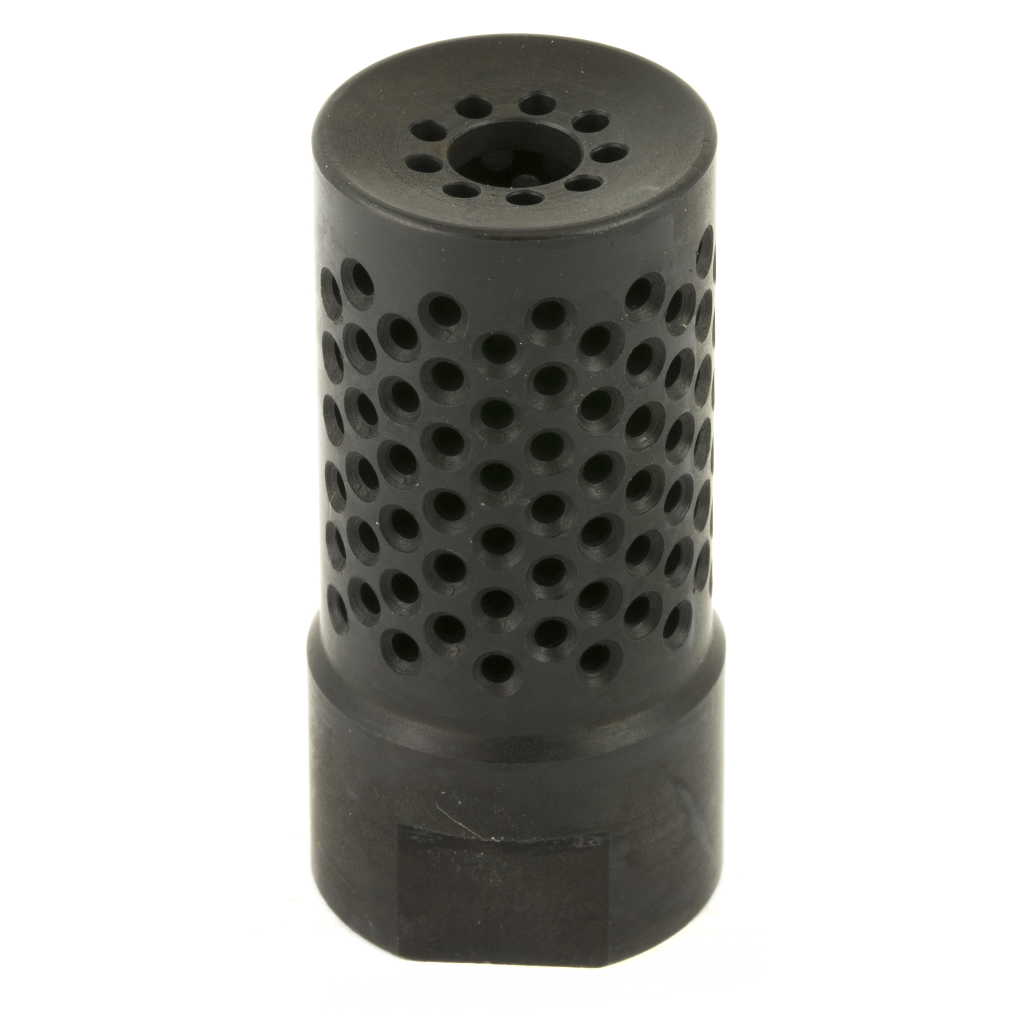 "The Spike's Tactical Dynacomp Short is a 5.56 muzzle device designed to reduce recoil impulse and muzzle climb to provide faster follow up shots. The Dynacomp accomplishes this by balancing the direction of the blast along the vertical (upward) and perpendicular planes of the muzzle to lower muzzle rise"" while the end of the device restricts forward energy to reduce parallel recoil. The ports on the Dynacomp are ball dimpled for smooth expansion of gases and rapid heat dissipation. The entire device is nitride treated to enhance these characteristics and provide a slick black finish."