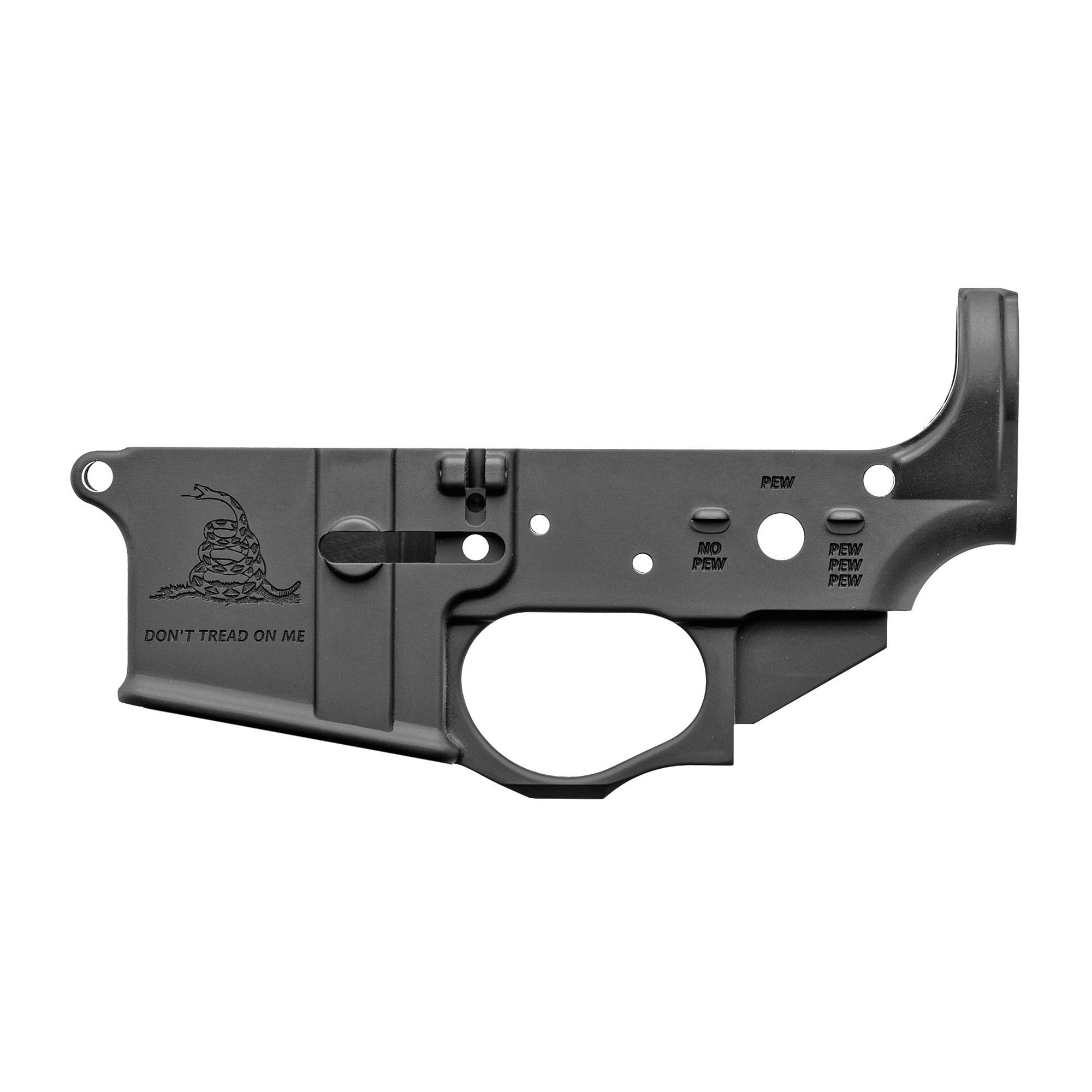 The Spikes Tactical Forged AR-15 lower receiver is perfect for your next AR-15 build. This particular lower receiver features the Gadsden logo which has not been color filled. The lower is made from 7075 T6 aluminum and is finished with a Type III hard coat anodized finish.