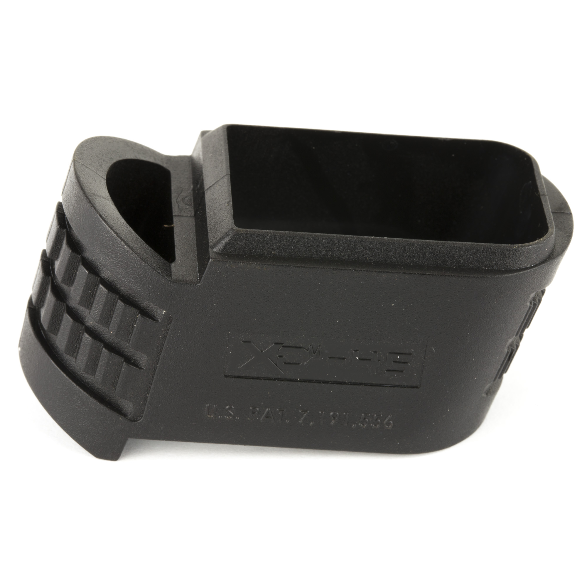 The X-Tension Sleeve fills in the gap between the extended magazine base plate and the grip when using high capacity magazines in the XD(M) 45ACP Compact.