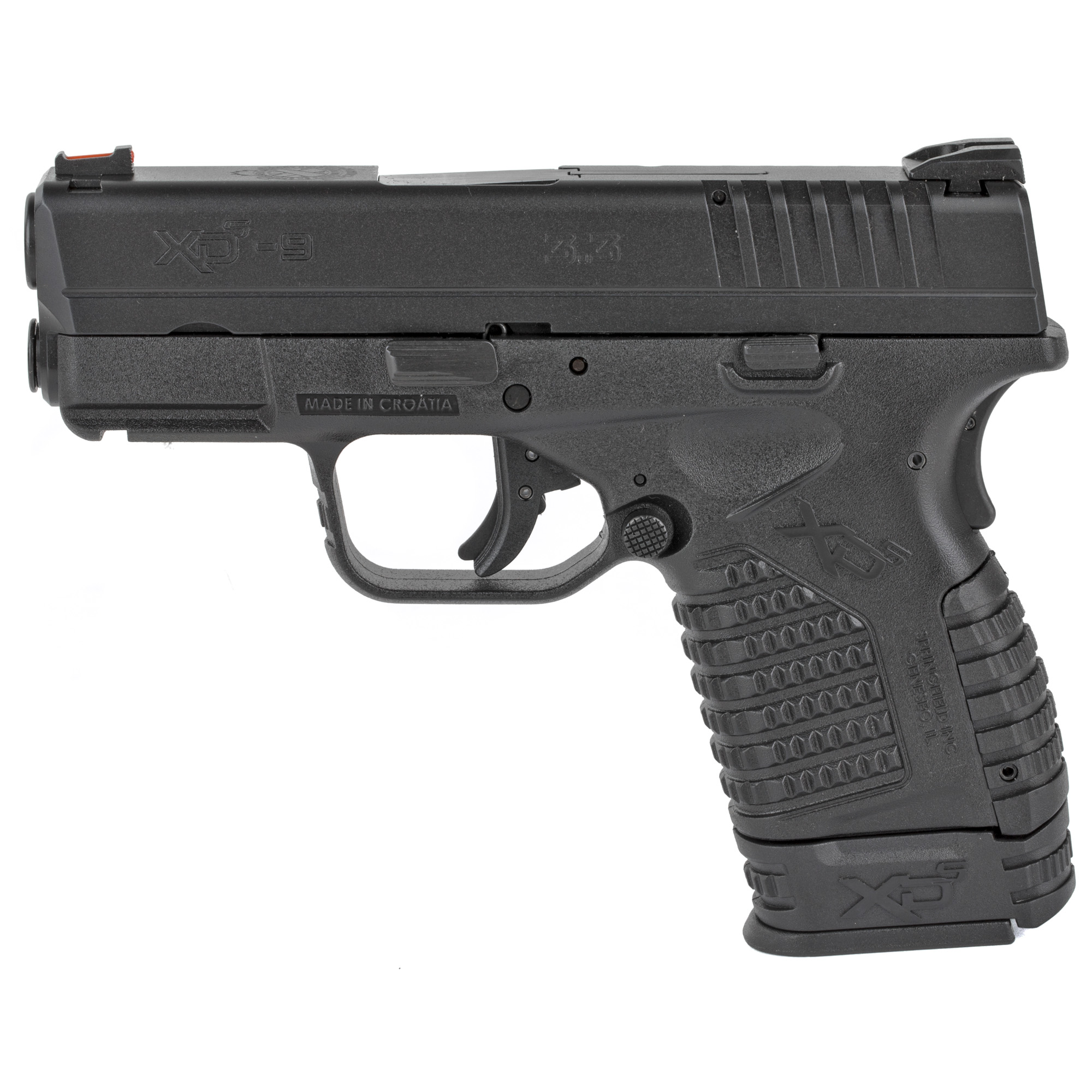 """The XD-S(R) 3.3"""" Single Stack 9mm offers so much that you'll be astonished that it all fits in the small"""" concealable profile. The XD-S(R) Single Stack from Springfield Armory(R) has forever changed what you can expect out of your daily carry pistol. Use your XD-S(R) Single Stack with an X-Tension(TM) magazine and you'll find that your carry pistol has grown into something that will astonish and delight you on the range. Use a flush-fitting magazine when you carry it"""" and it shrinks such that you'll forget it's there. If you're looking for the most available capacity in the most concealable package"""" you should pick up an XD-S(R) 3.3"""" Single Stack in 9mm. You don't have to settle for a larger gun to gain shooting comfort. Nor do you have to sacrifice size for capacity. Hold an XD-S(R) 3.3"""" Single Stack today"""" and you'll want to shoot it. Put it in your holster"""" and you'll find that it's Noticeably Unnoticeable(TM). Includes one 7-round magazine and one 8-round magazine."""