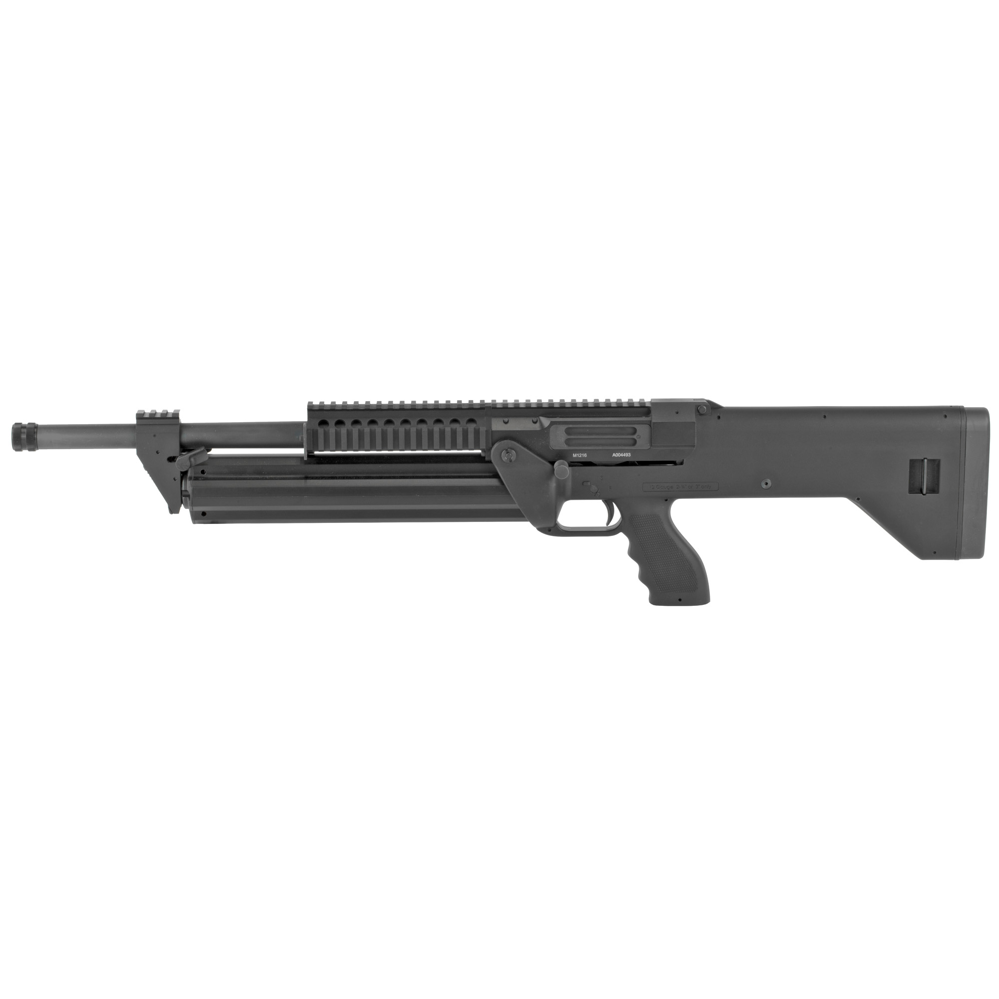 """The SRM 1216 features a revolving magazine"""" ambidextrous receiver and controls"""" pushpin dissassembly and roller delayed action that provides fast cycling and reduced felt recoil."""