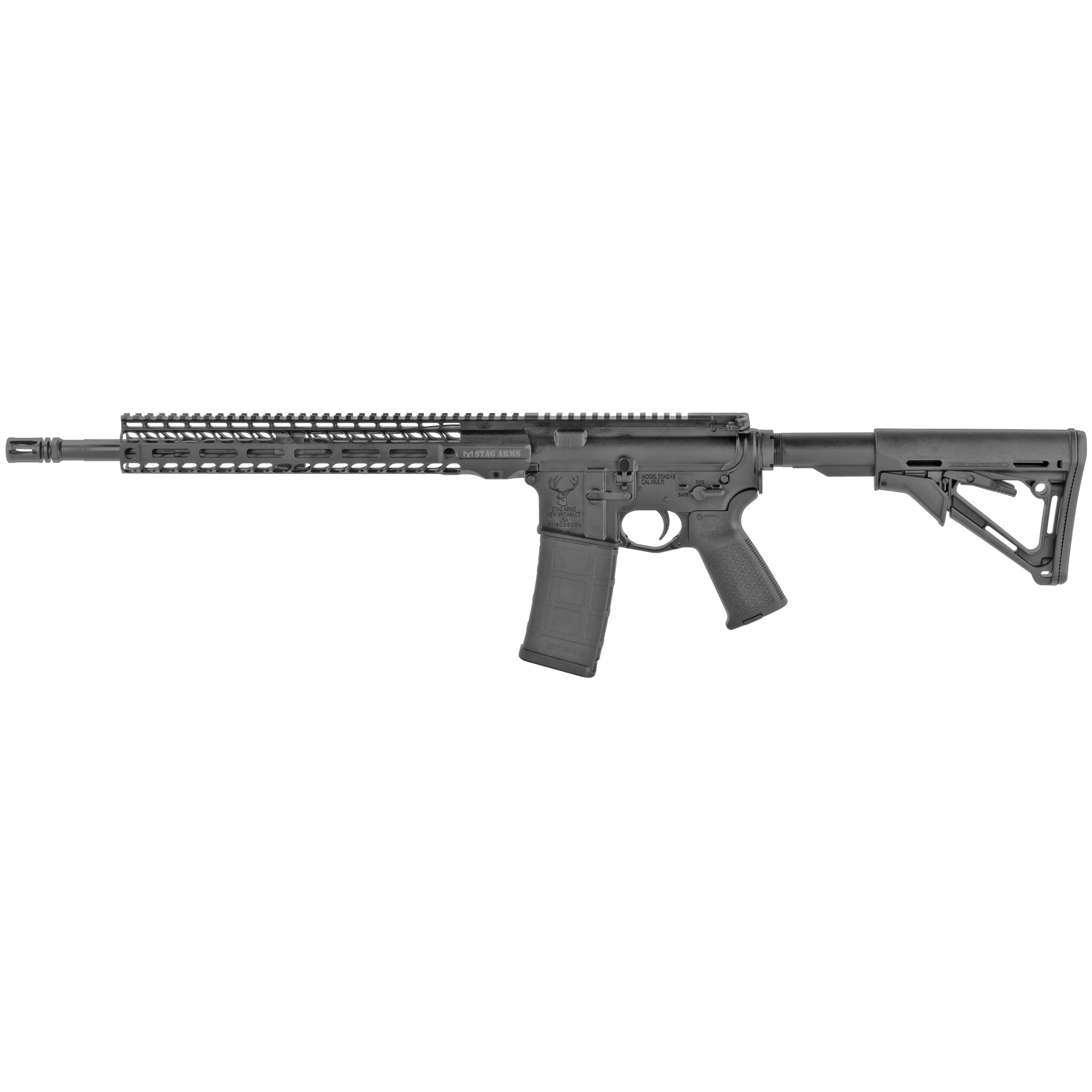 "The Stag 15 Tactical is the first rifle in the Stag 15 lineup to feature the Stag 15 M-LOK SL 13.5"" Handguard. Built around a 16"" 1/7 twist chrome lined barrel"" the Stag 15 Tactical has an A2 Flash Hider to reduce muzzle flash. The carbine-length gas system provides reliability under any condition and is combined with a low profile gas block."