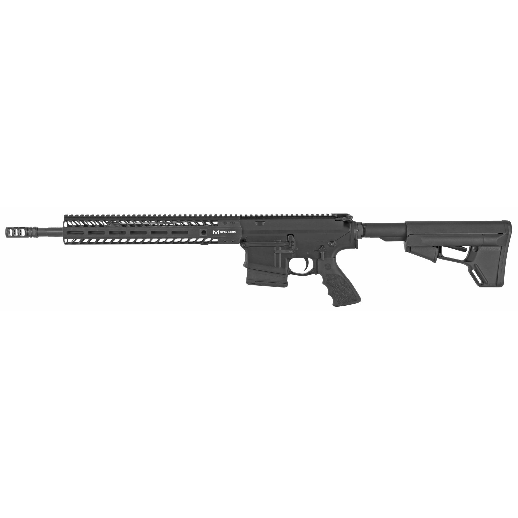 "The Stag 10S .308 M-LOK Rifle was specifically designed for those moments where you need that extra power in close quarters"" now with a light-weight ergonomic 13.5"" Stag Handguard. The Stag .308 line features a Stag slant cut design and includes uniquely designed parts for the lower to guarantee the best fit between the upper and lower. The remainder of the rifle utilizes the DPMS .308 platform for parts compatibility. The Stag 10S features a .308 chamber 16"" 1/10 barrel"" VG6 Gamma Compensator"" 13.5"" Stag M-LOK Handguard and a QPQ Nitride BCG. Every complete rifle from Stag Arms comes with a Transferable Lifetime Warranty"" an Infinite Shot Barrel Guarantee"" a magazine and a rifle case."